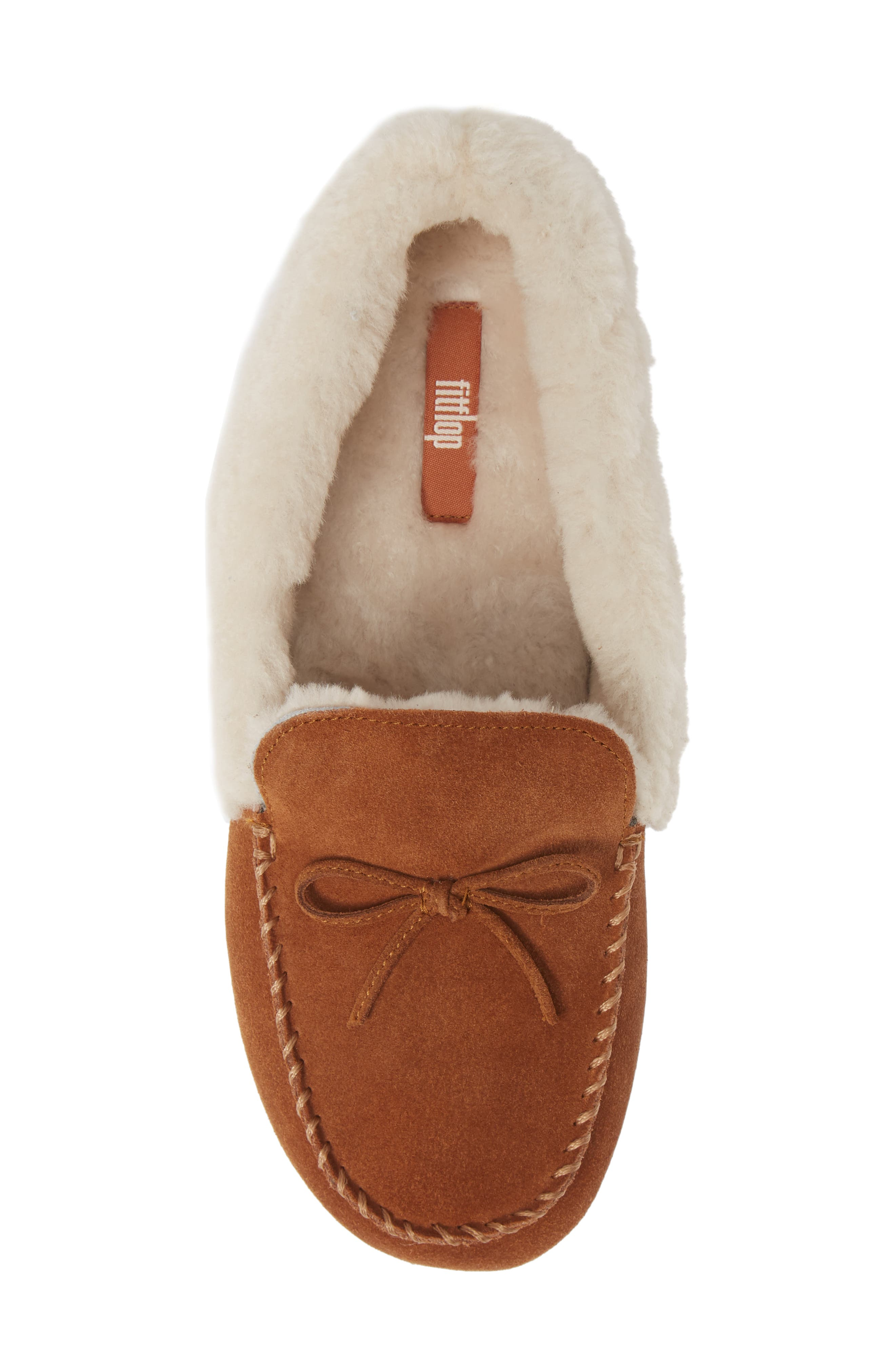 Clara Genuine Shearling Lined Moccasin,                             Alternate thumbnail 5, color,                             TUMBLED TAN SUEDE