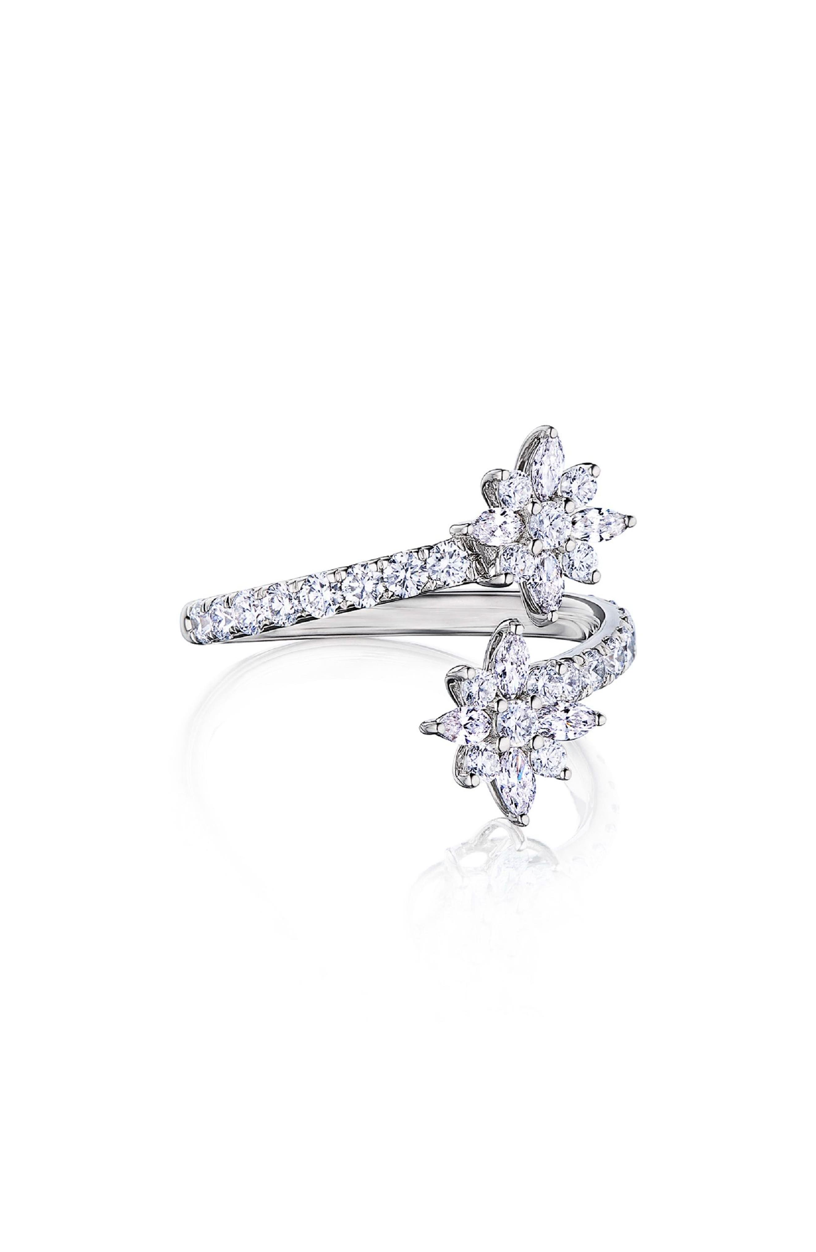 Star Diamond Open Ring,                             Main thumbnail 1, color,                             WHITE GOLD