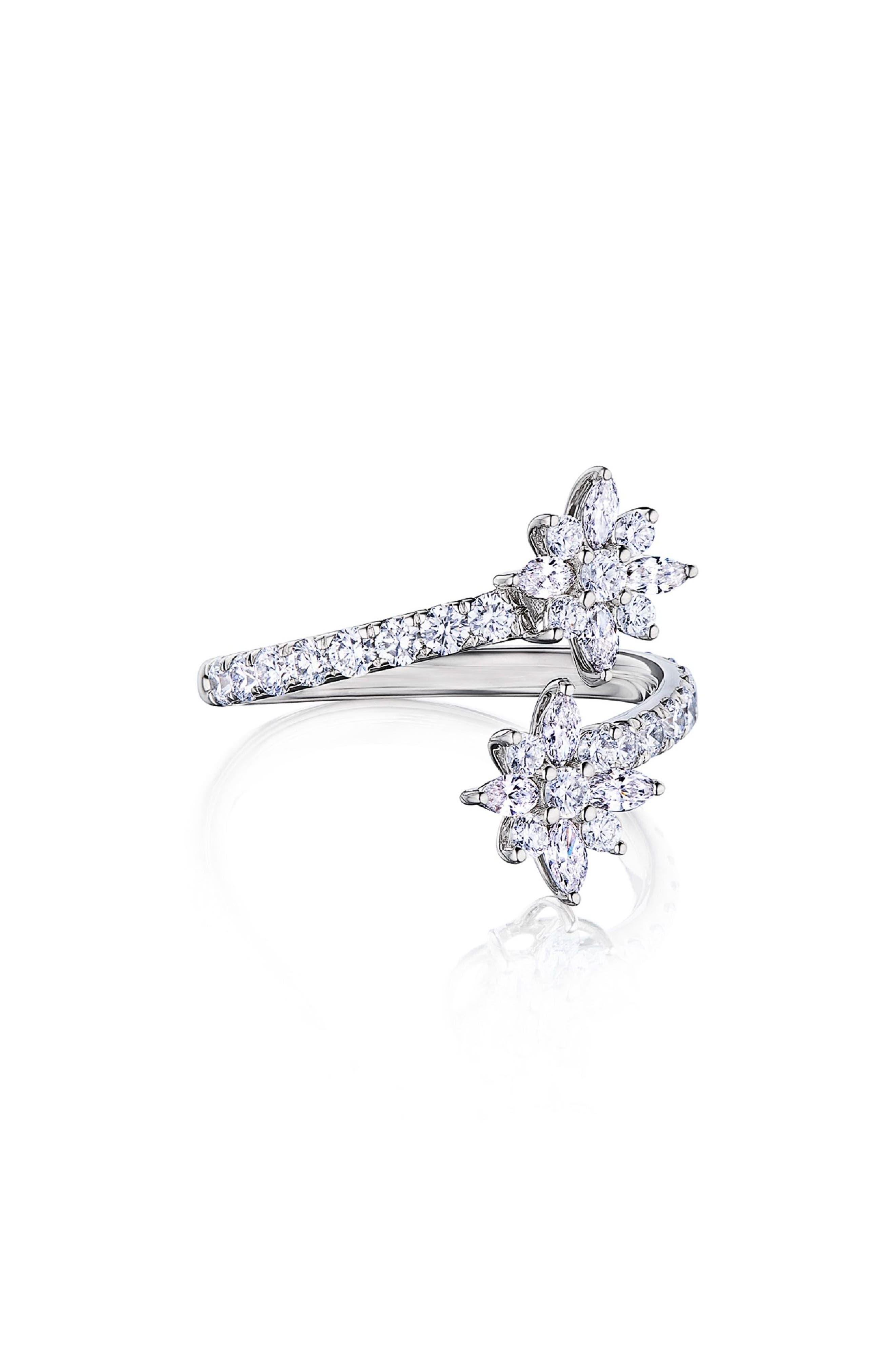 Star Diamond Open Ring, Main, color, WHITE GOLD