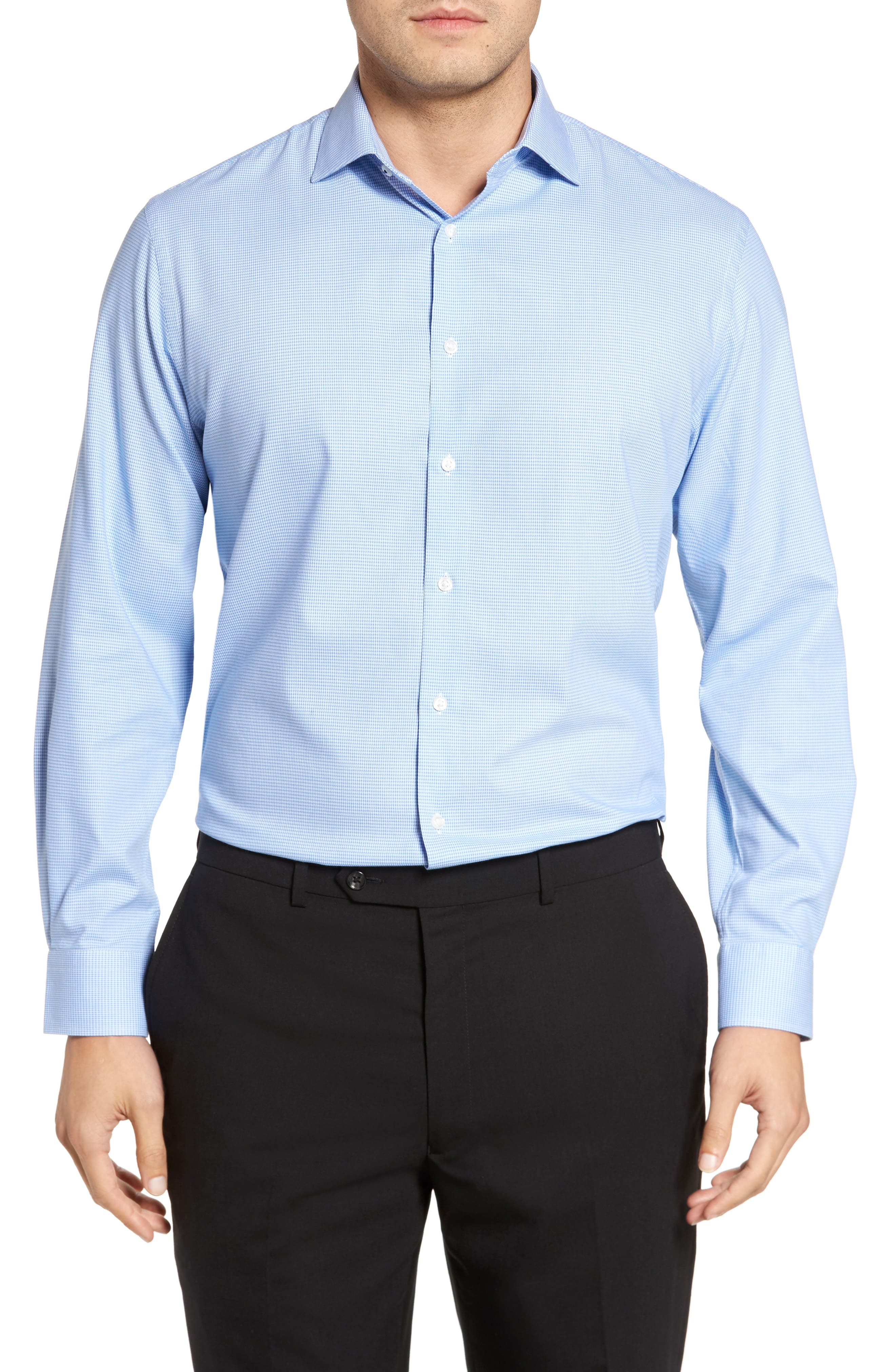 Tech-Smart Traditional Fit Stretch Houndstooth Dress Shirt,                         Main,                         color, 450