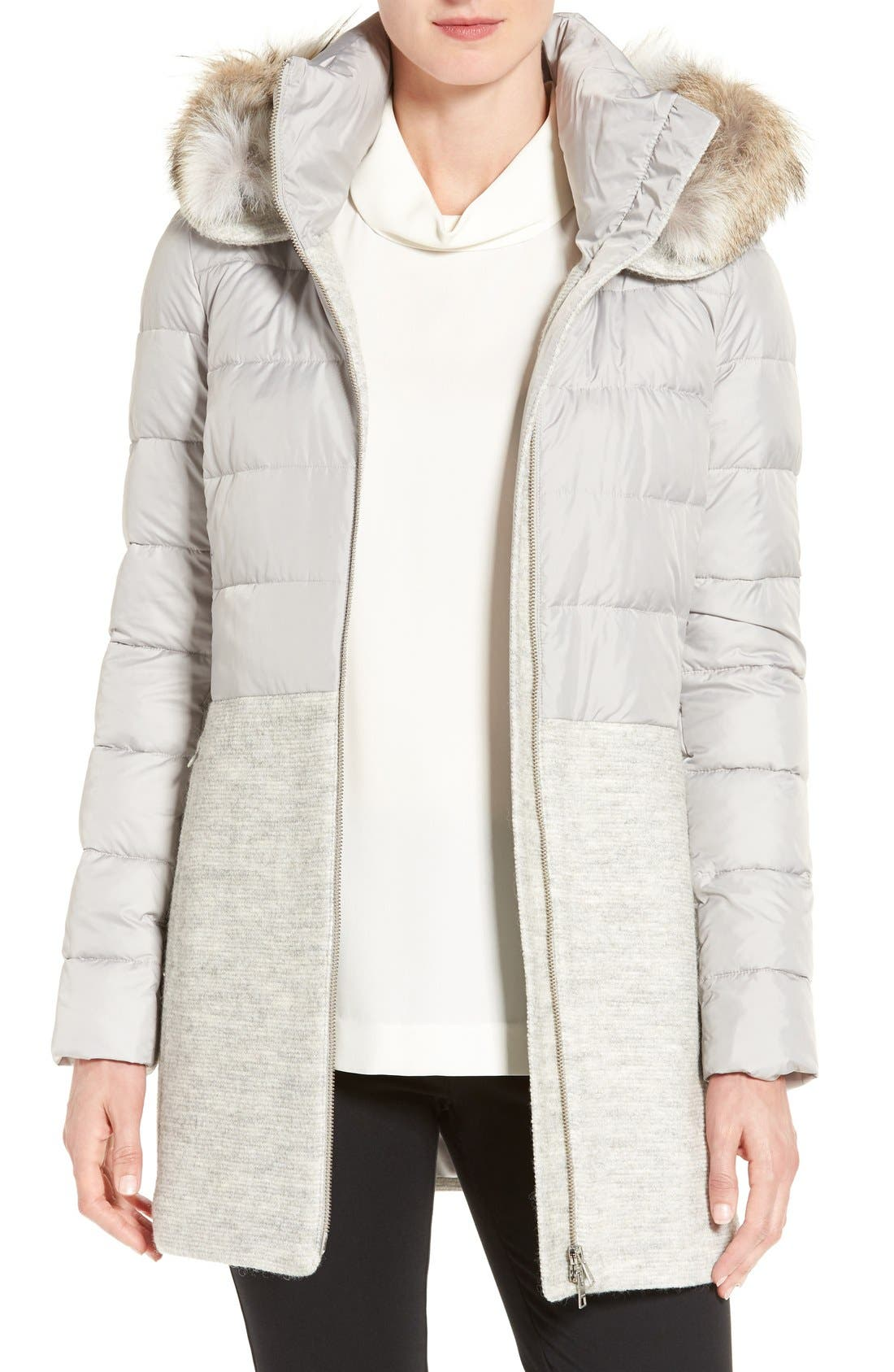 Mixed Media Quilted Coat with Genuine Coyote Fur Trim Hood,                             Main thumbnail 1, color,                             084