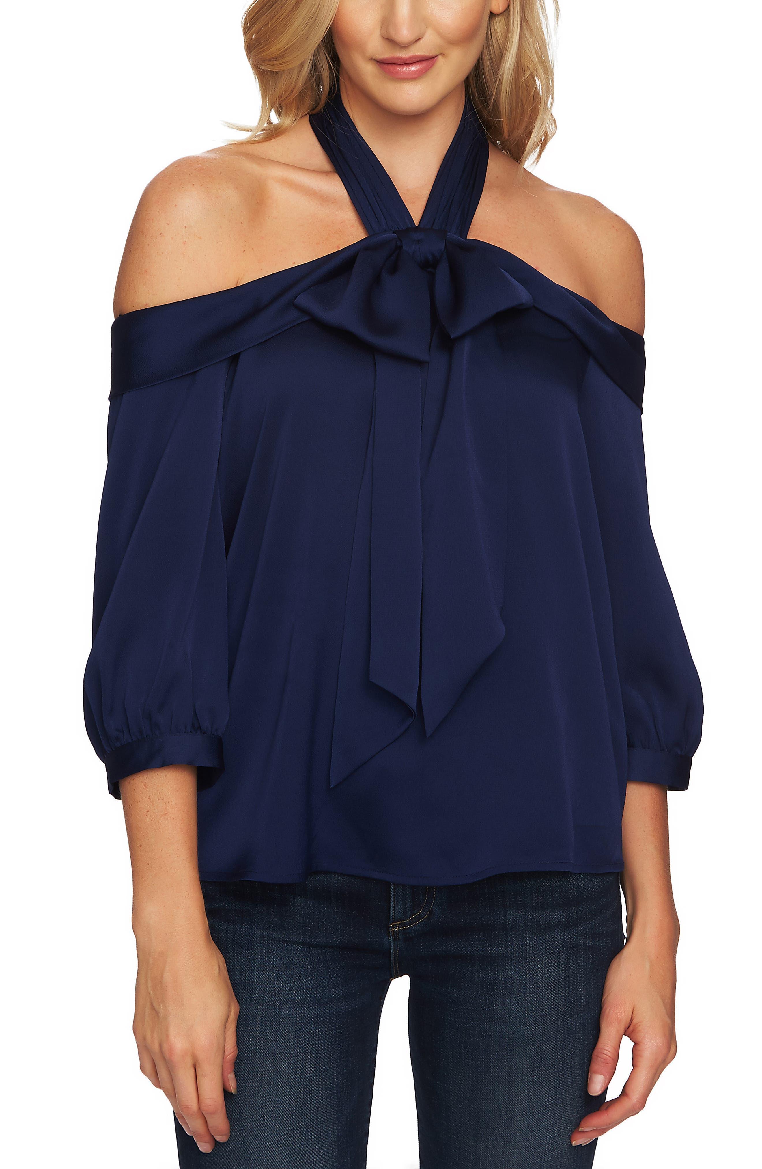 Cold Shoulder Halter Blouse,                         Main,                         color, MIDNIGHT BLOOM