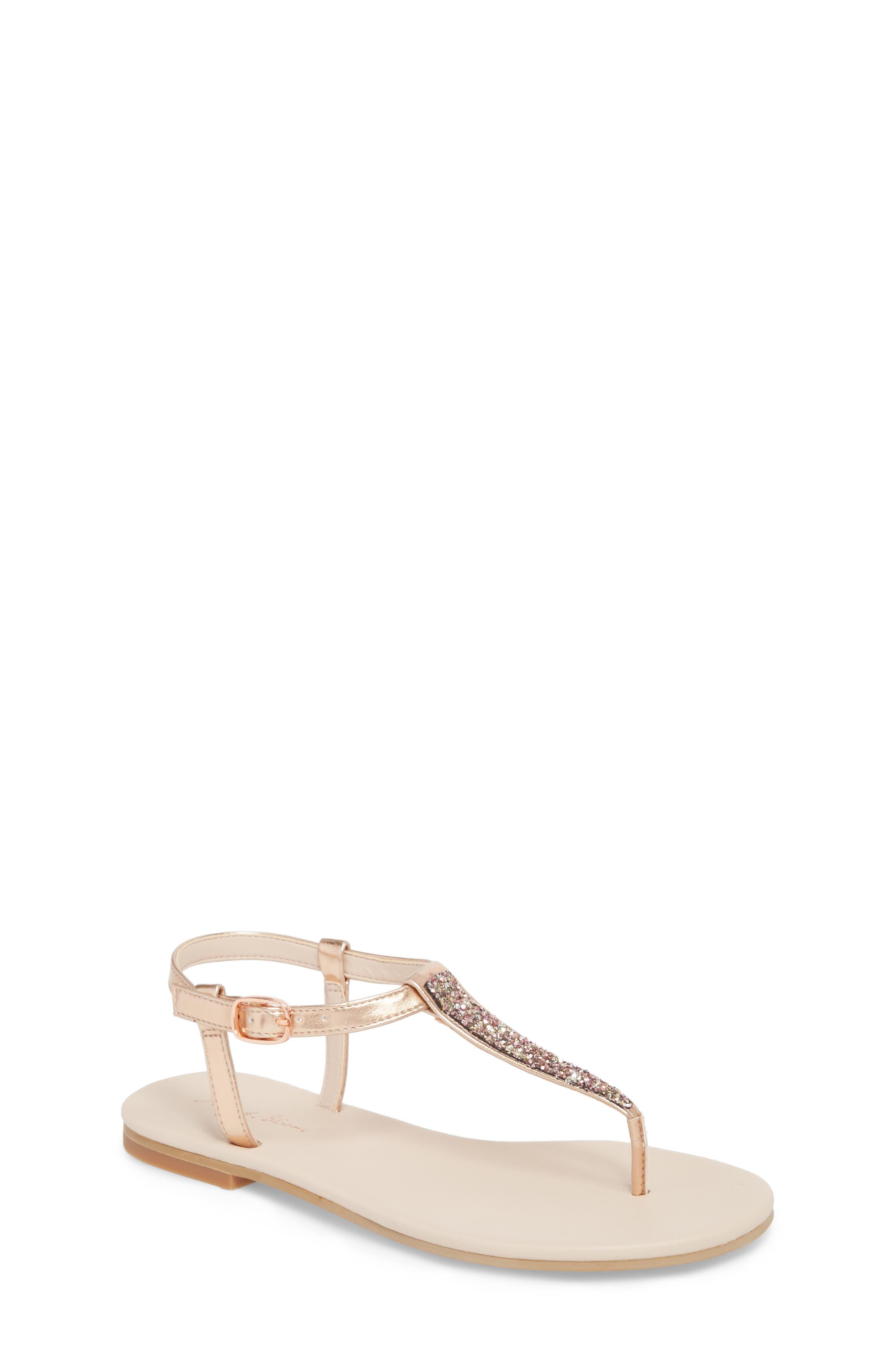 Noe Glitter T-Strap Sandal Sandal,                             Main thumbnail 1, color,                             ROSE GOLD FAUX LEA