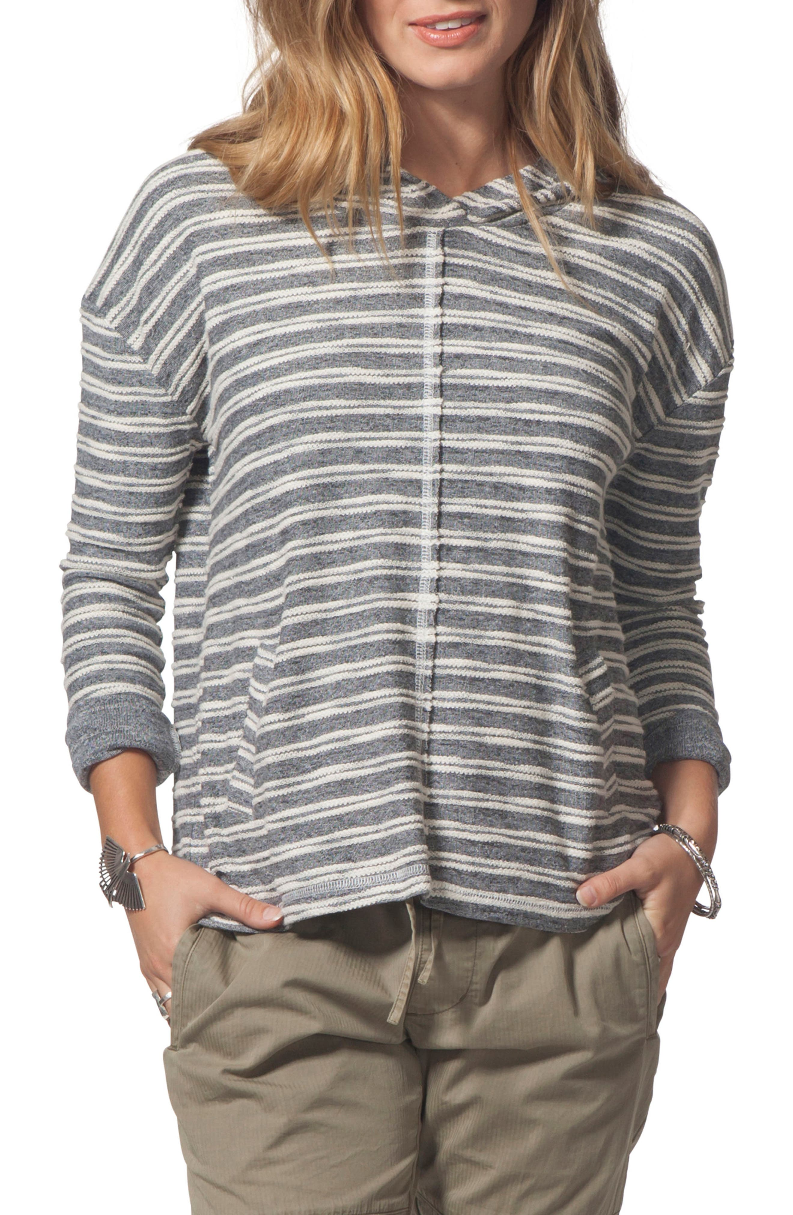 Next Move Stripe Hooded Pullover,                             Main thumbnail 1, color,                             BLACK