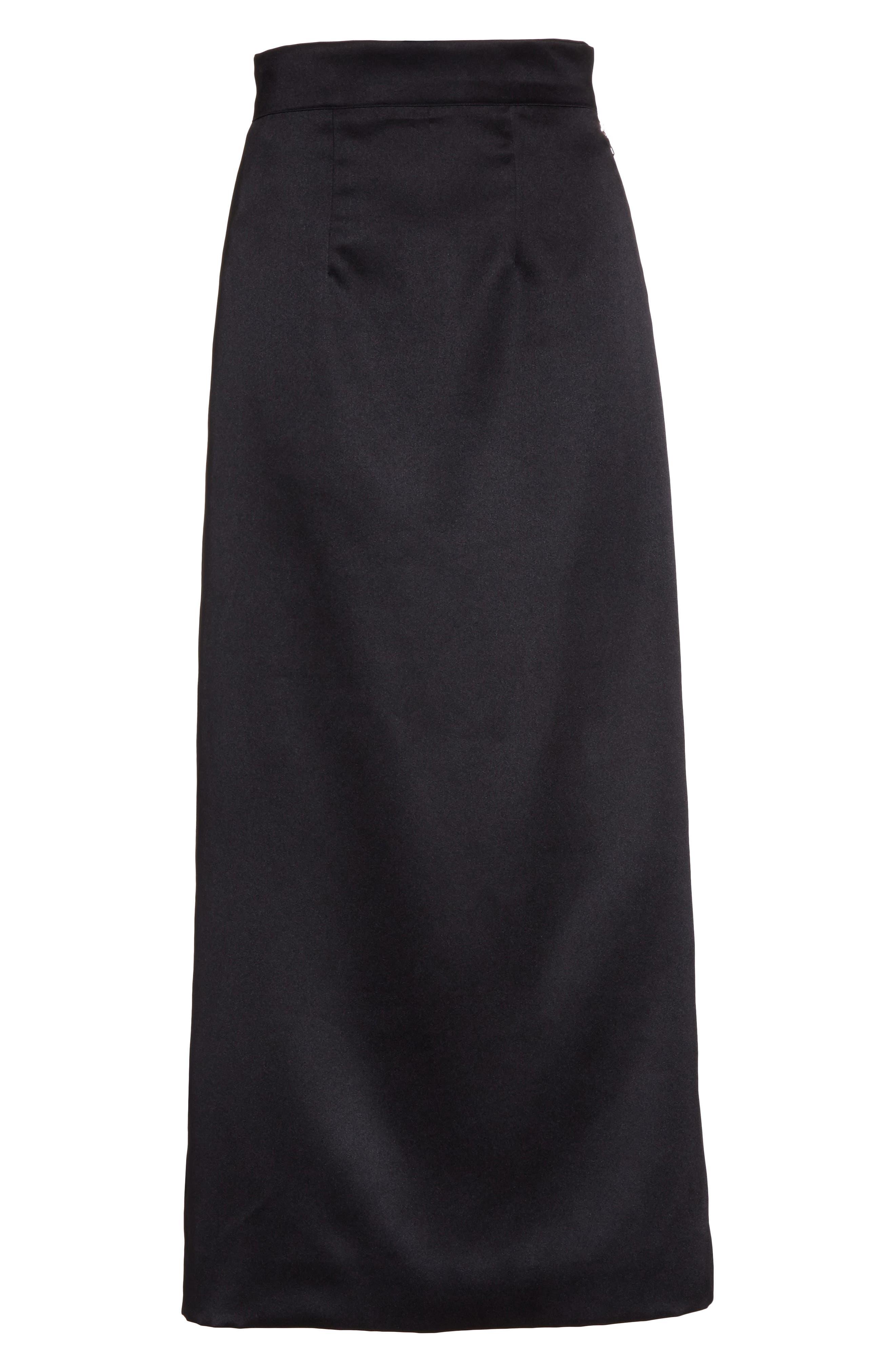 Side Zip Midi Skirt,                             Alternate thumbnail 6, color,                             001
