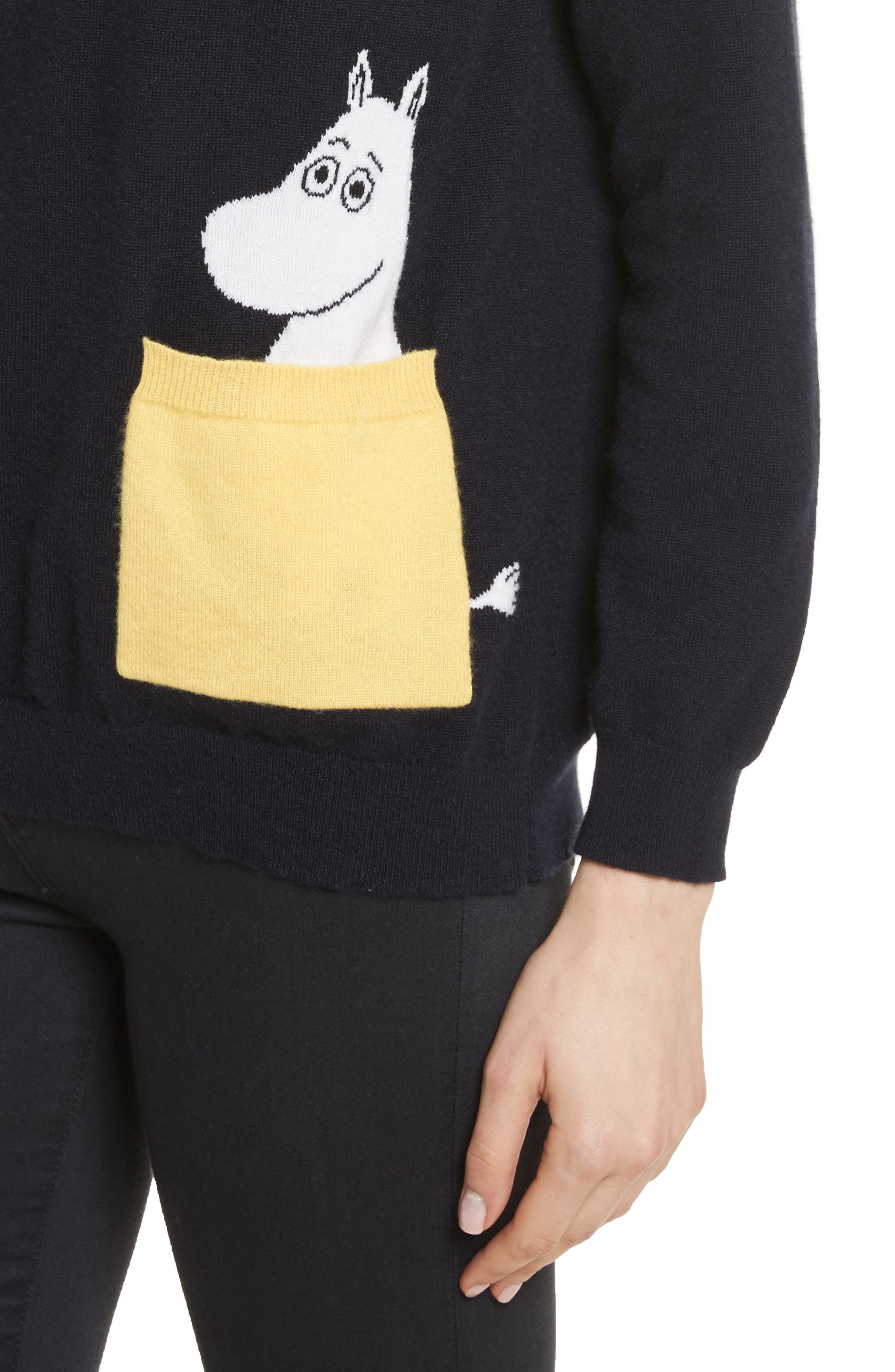CHINTI & PARKER Moomin Pocket Cashmere Sweater,                             Alternate thumbnail 4, color,                             410