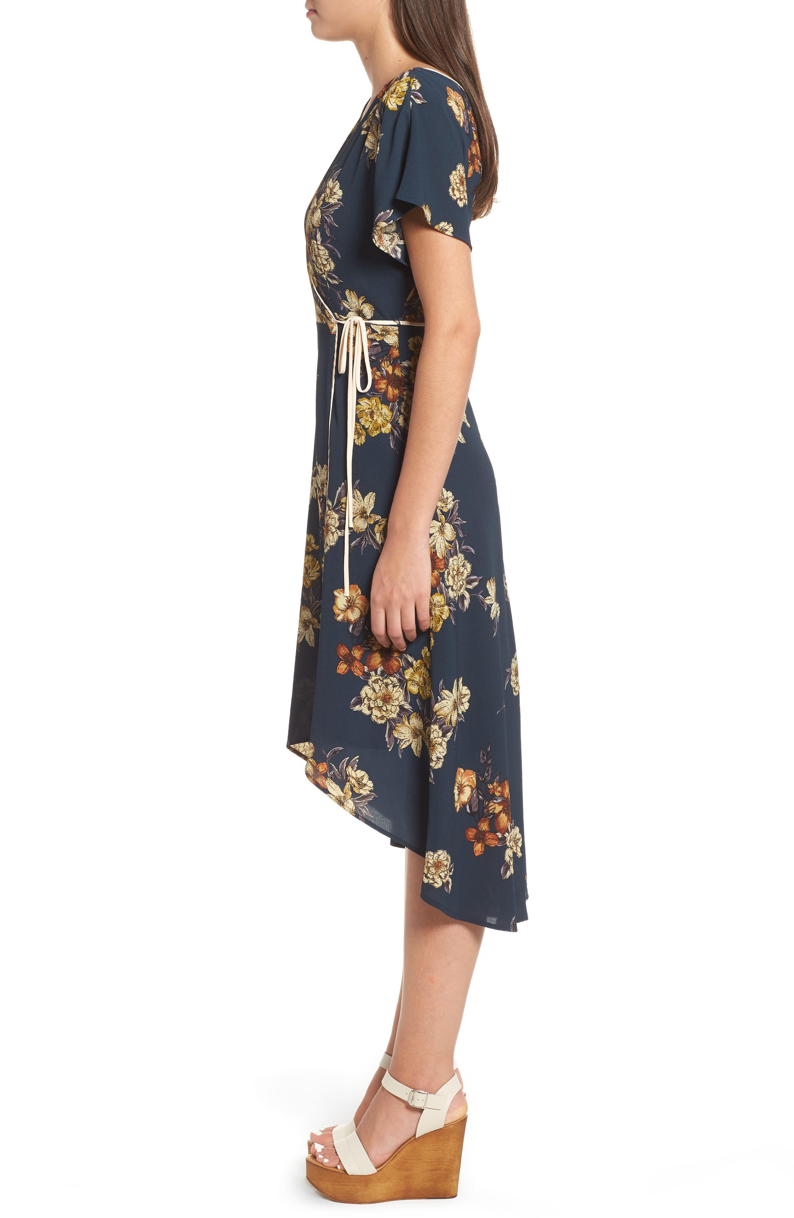 LEITH,                             Floral Wrap Dress,                             Alternate thumbnail 3, color,                             410