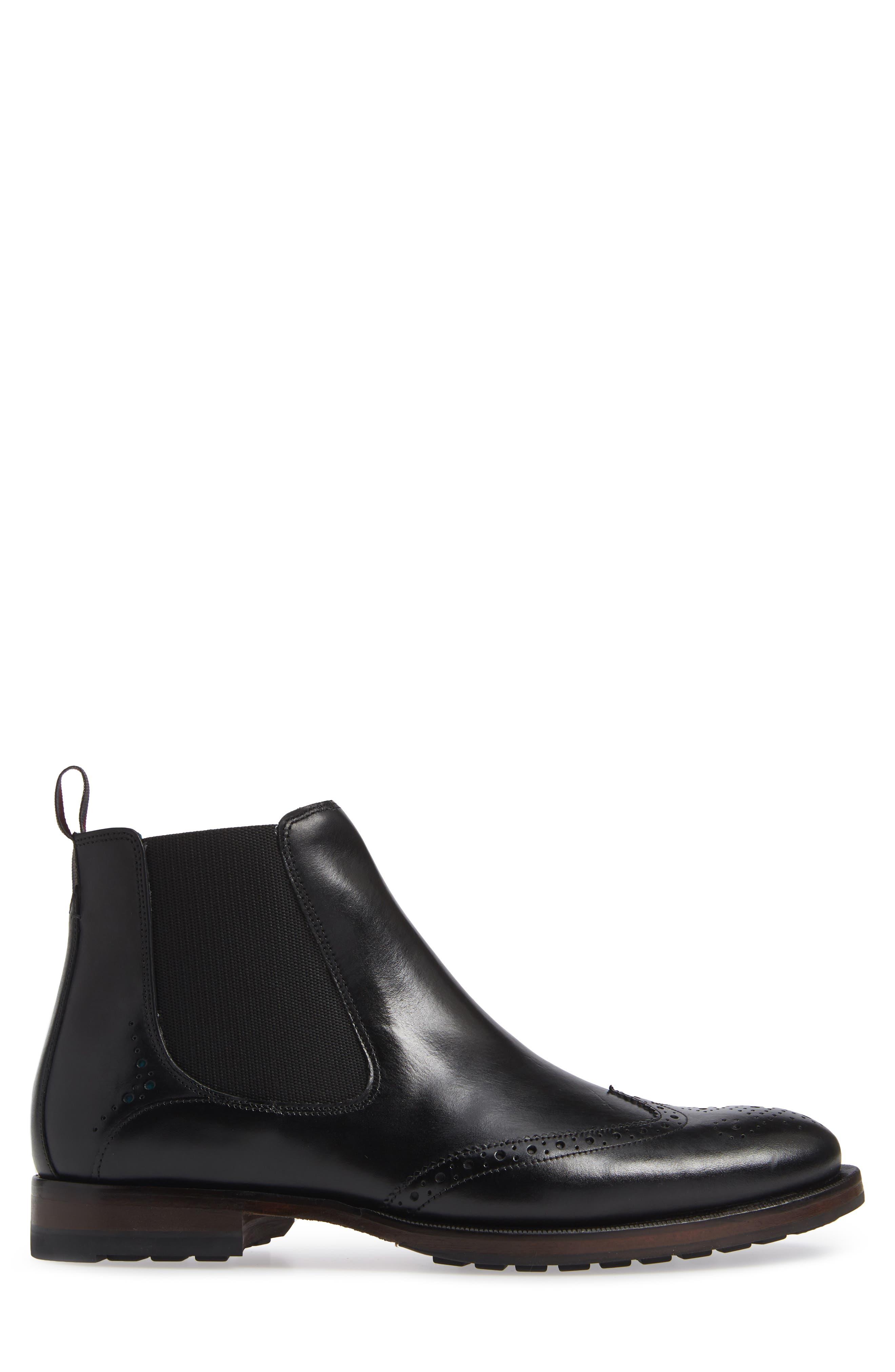 Camheri Wingtip Chelsea Boot,                             Alternate thumbnail 3, color,                             BLACK LEATHER
