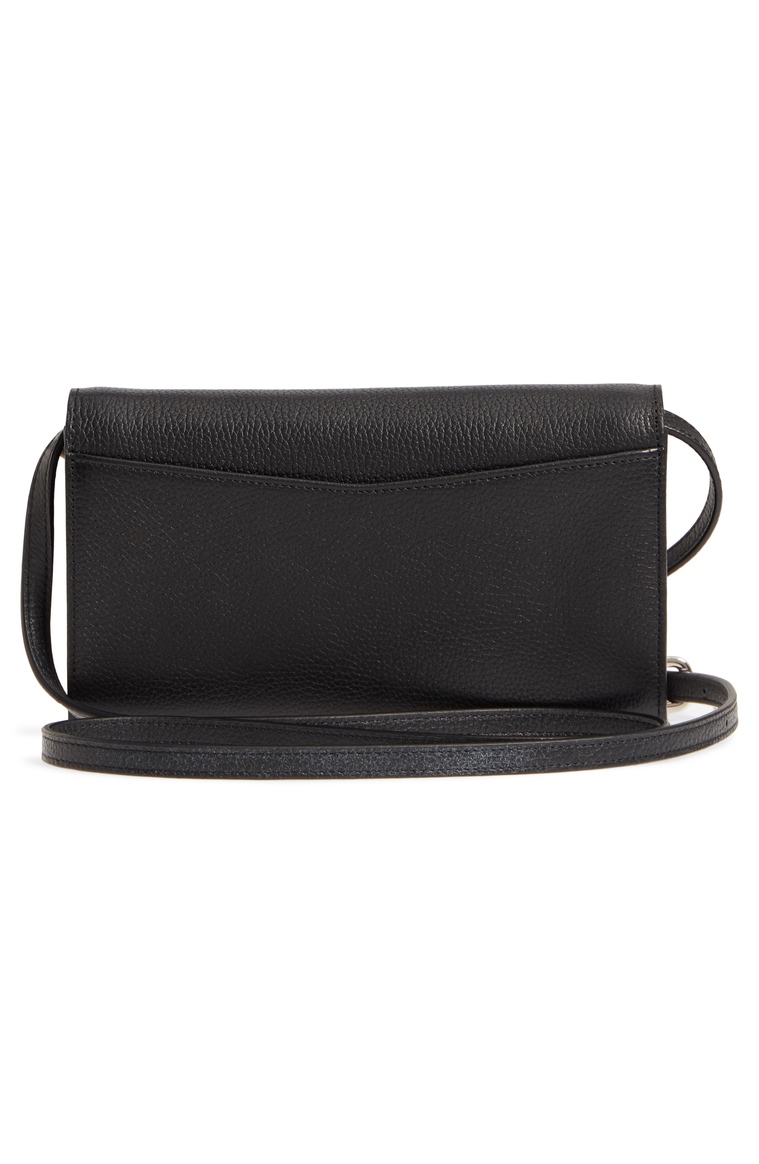 Leather Wallet on a Chain,                             Alternate thumbnail 3, color,                             BLACK