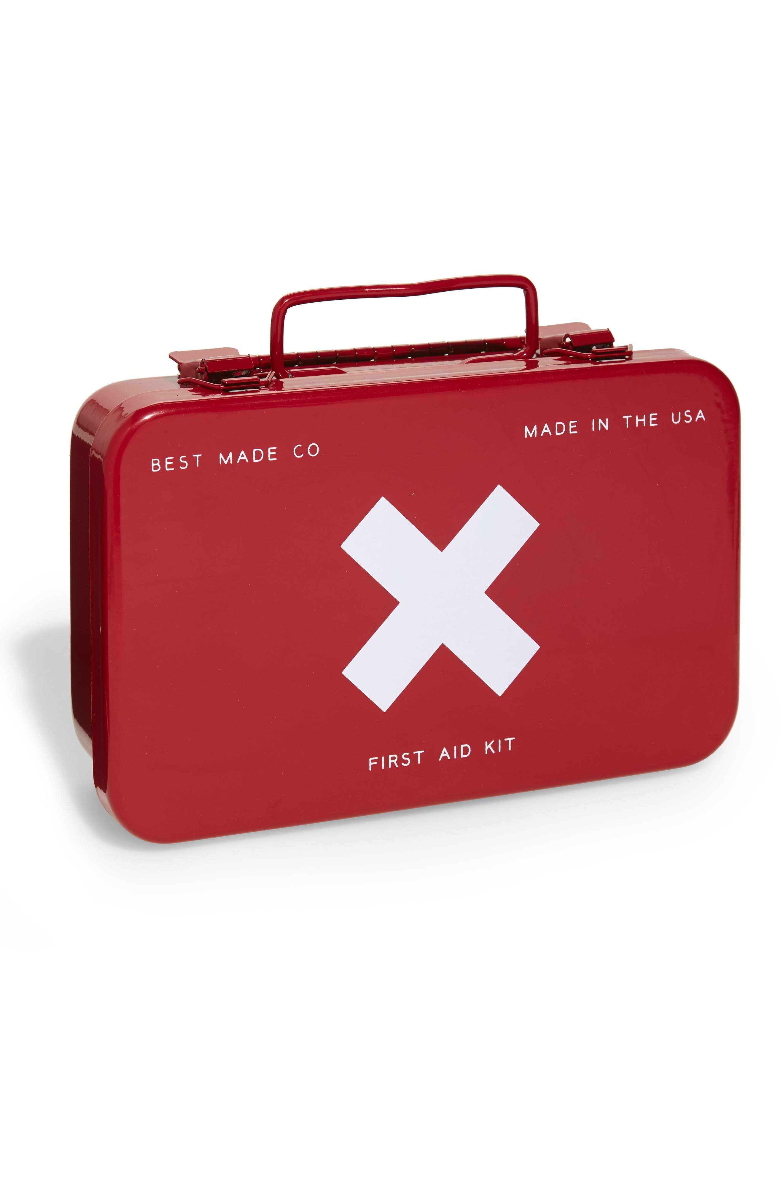 The Small Metal First Aid Kit, Main, color, RED