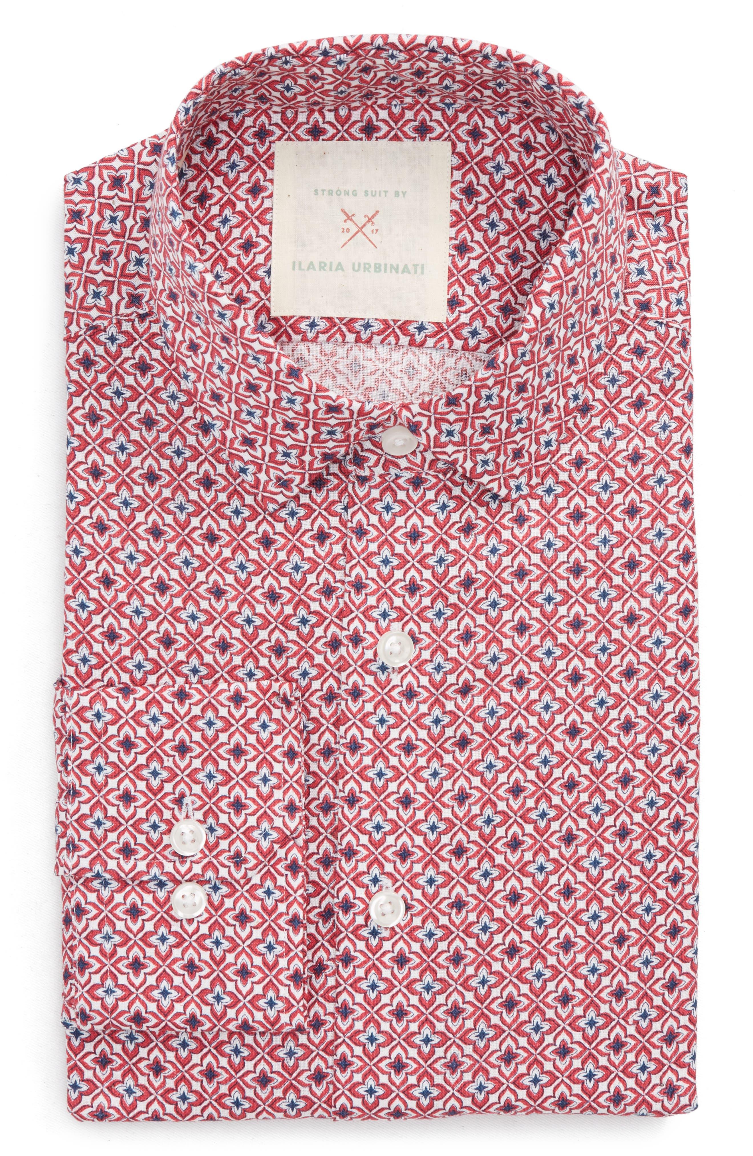 by Ilaria Urbinati Edmond Slim Fit Medallion Dress Shirt,                             Main thumbnail 1, color,