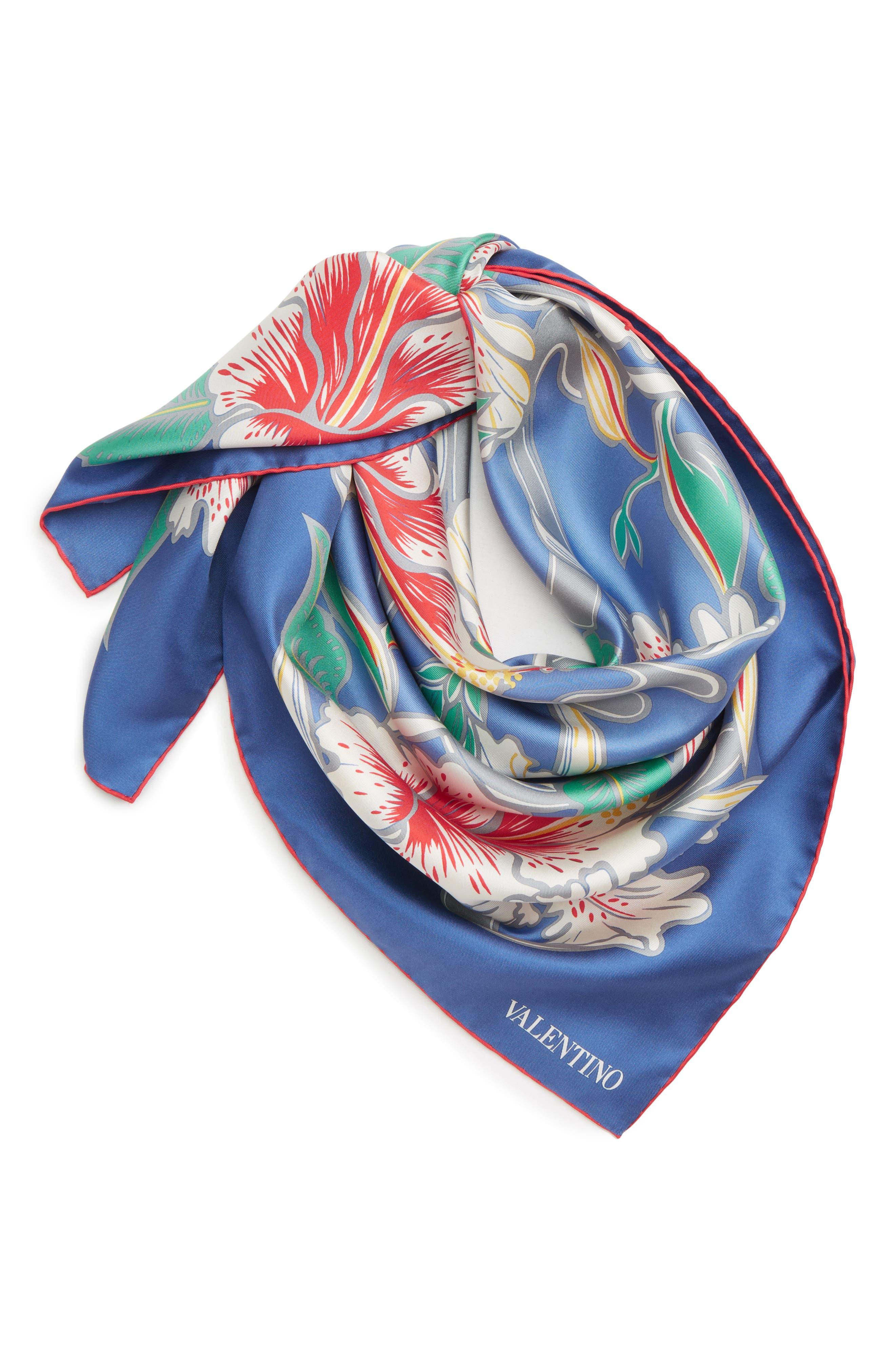 Hibiscus Silk Scarf, Main, color, ANGEL