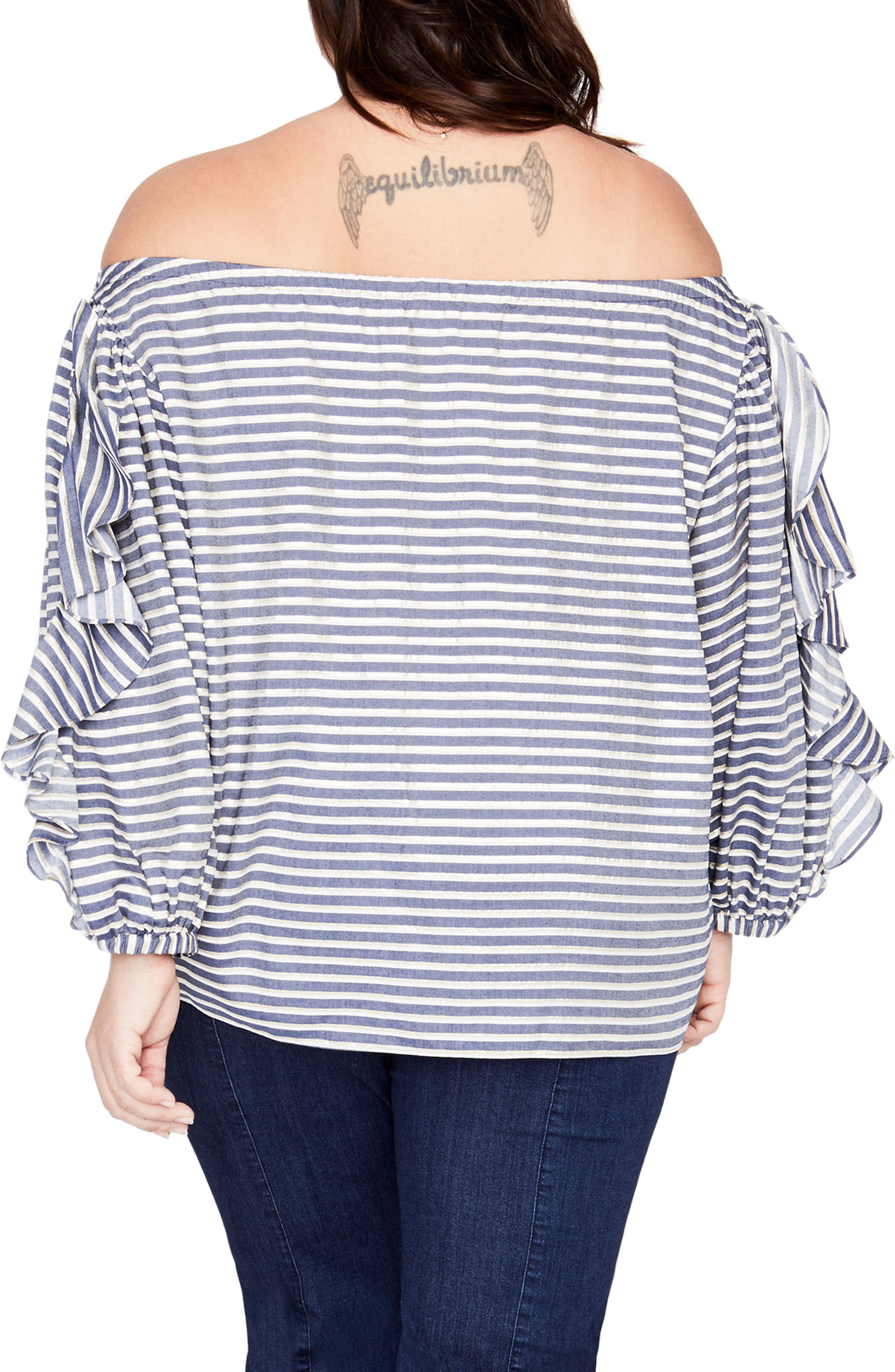 Ruffle Sleeve Stripe Off the Shoulder Top,                             Alternate thumbnail 2, color,                             TRUE NAVY COMBO