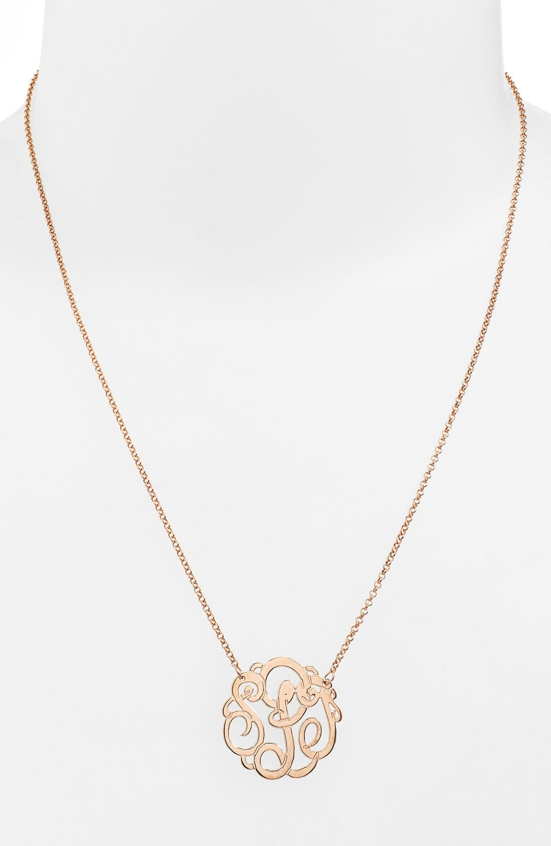 Personalized Small 3-Initial Letter Monogram Necklace,                             Alternate thumbnail 2, color,                             ROSE GOLD