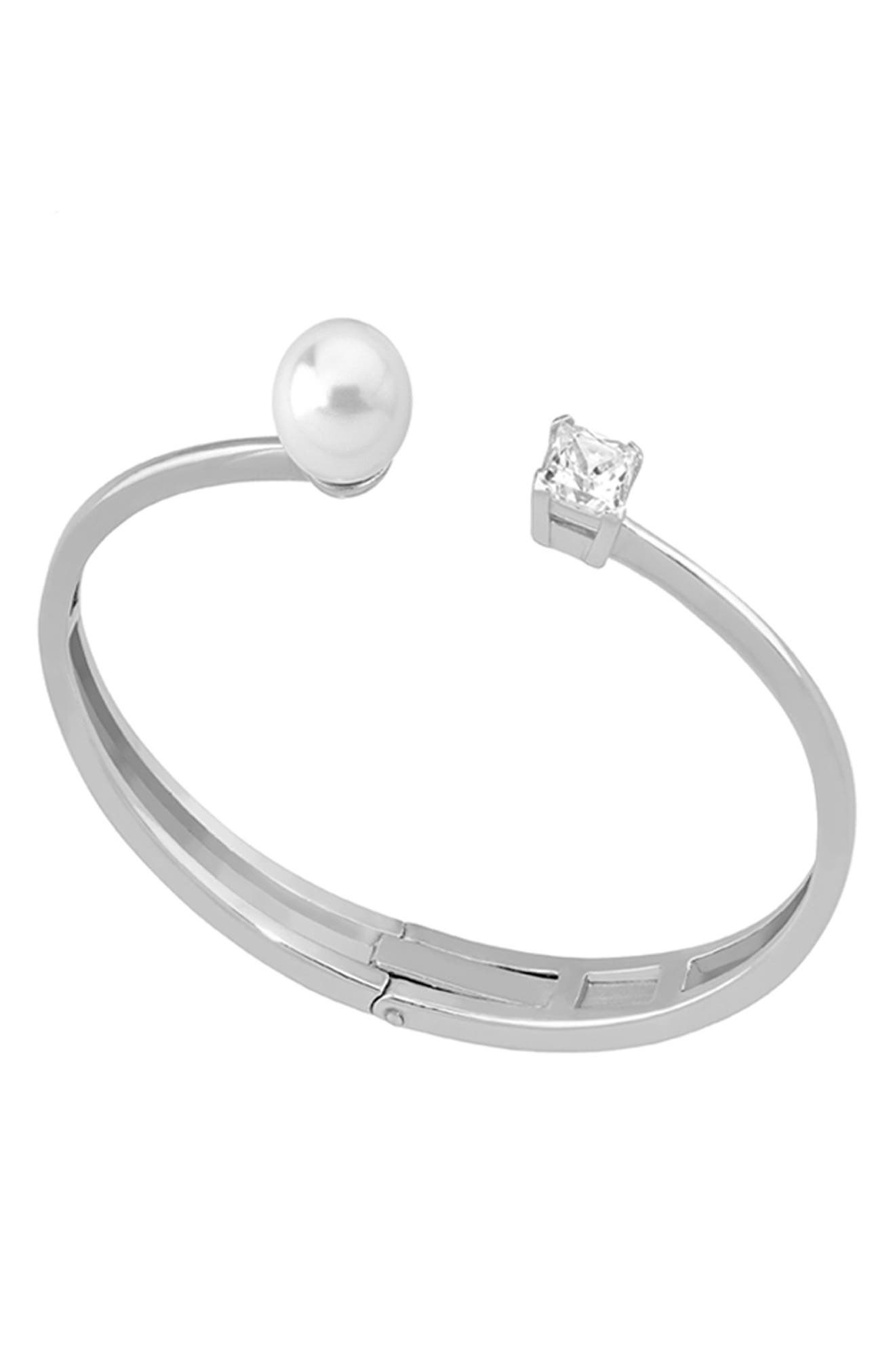 MAJORICA 10Mm Manmade Pearl & Cubic Zirconia Split Silver Bangle Bracelet in White/ Steel