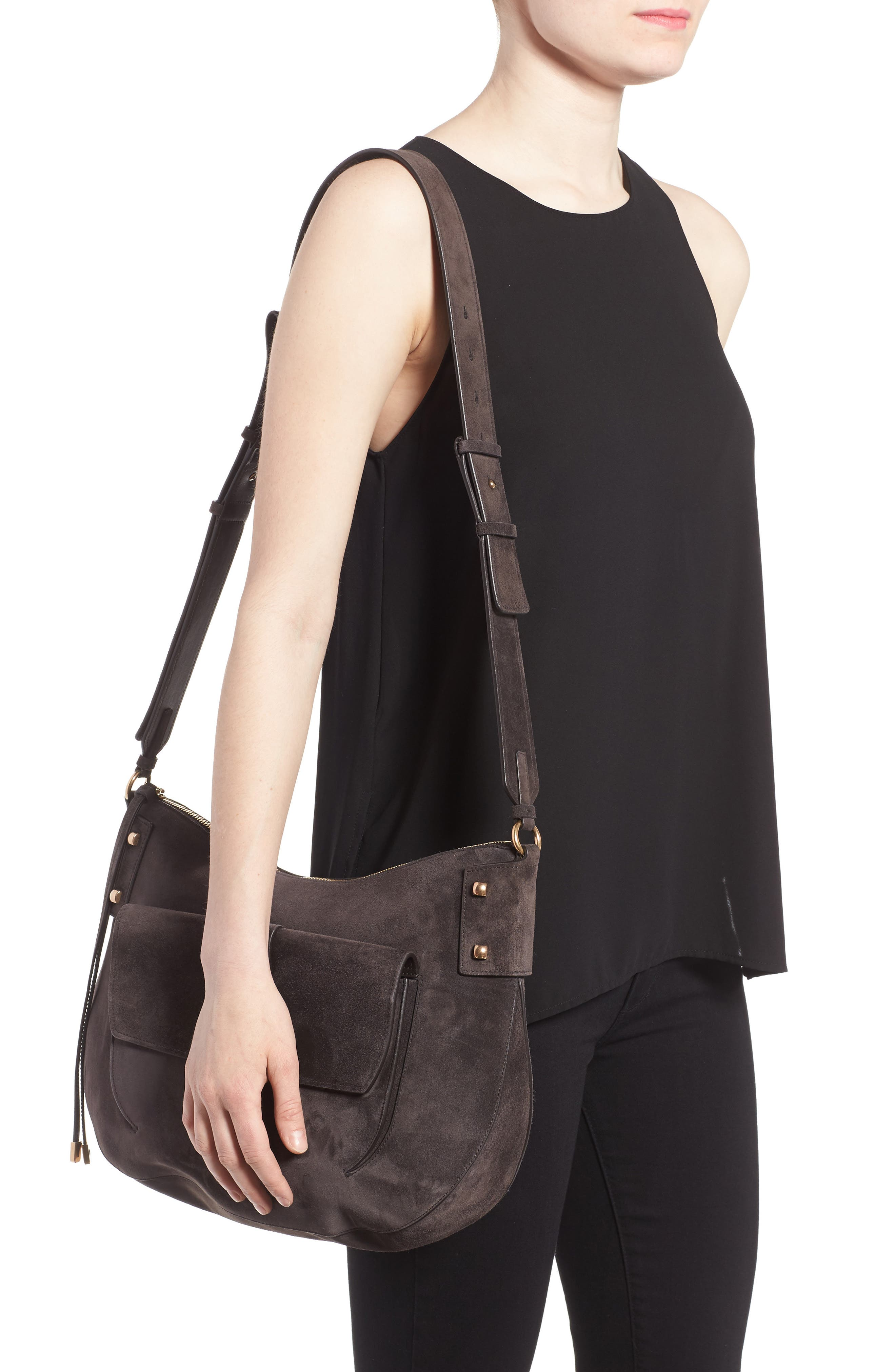Suede Hobo,                             Alternate thumbnail 2, color,                             033