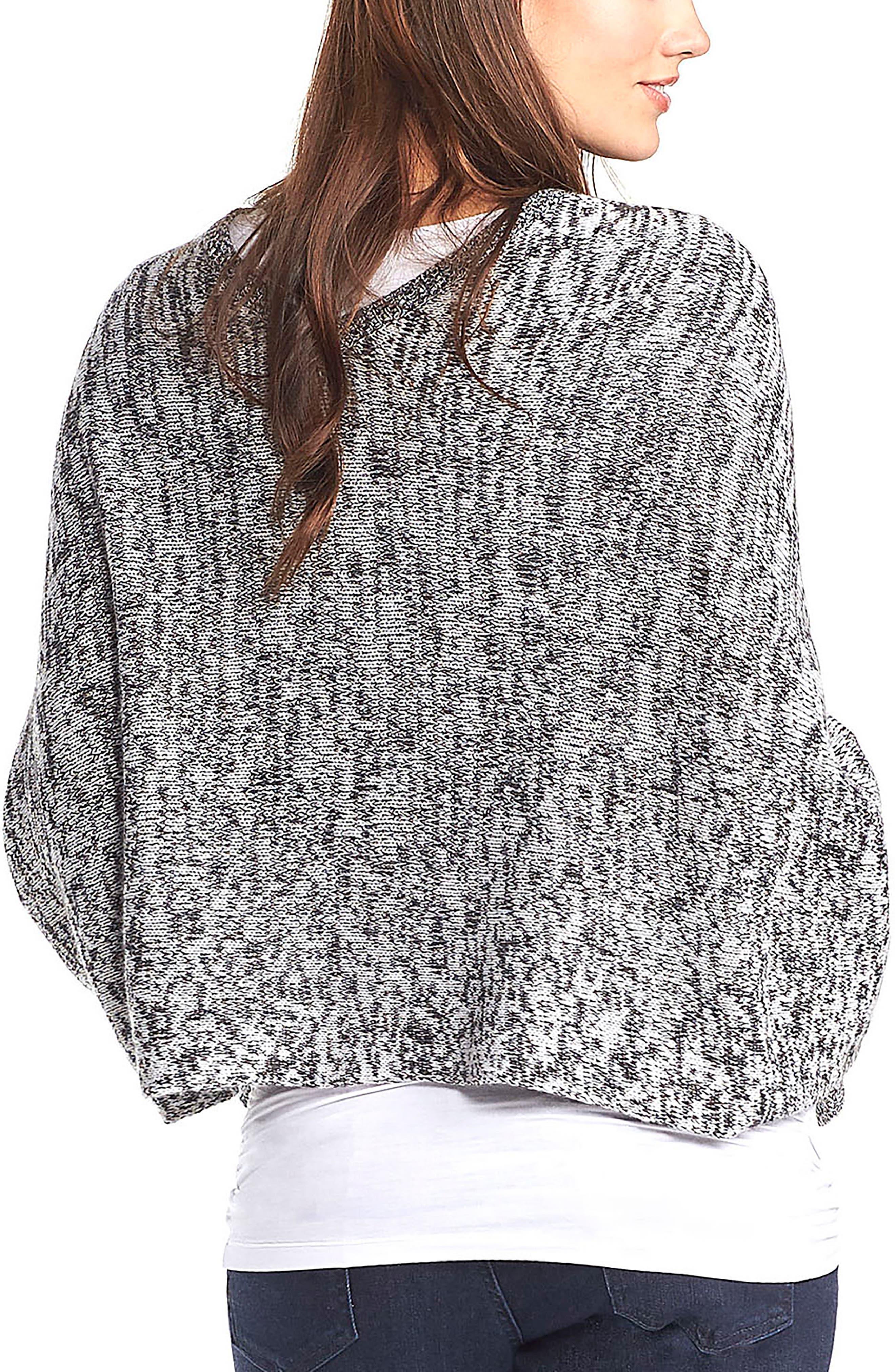 'Alana' Wool Maternity Poncho,                             Alternate thumbnail 2, color,                             BLACK/WHITE