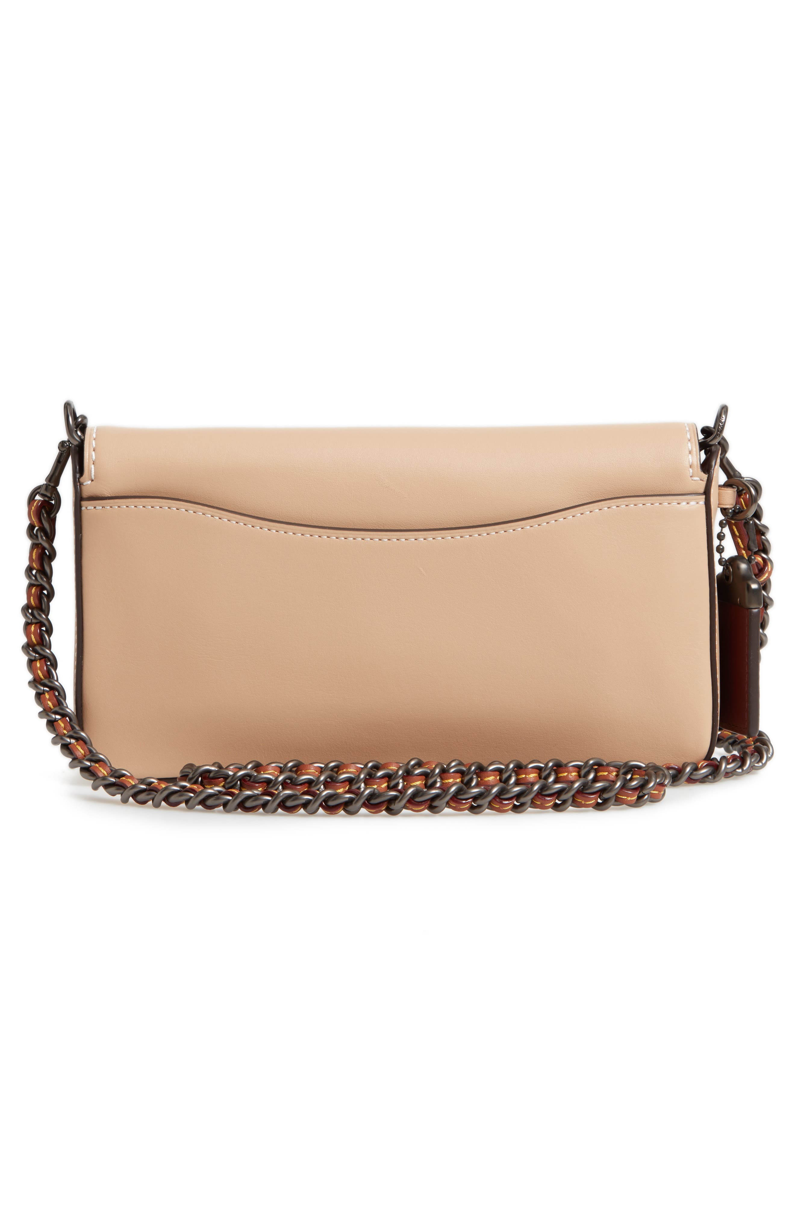 Dinky Leather Crossbody Sequin Bag,                             Alternate thumbnail 3, color,                             BEECHWOOD