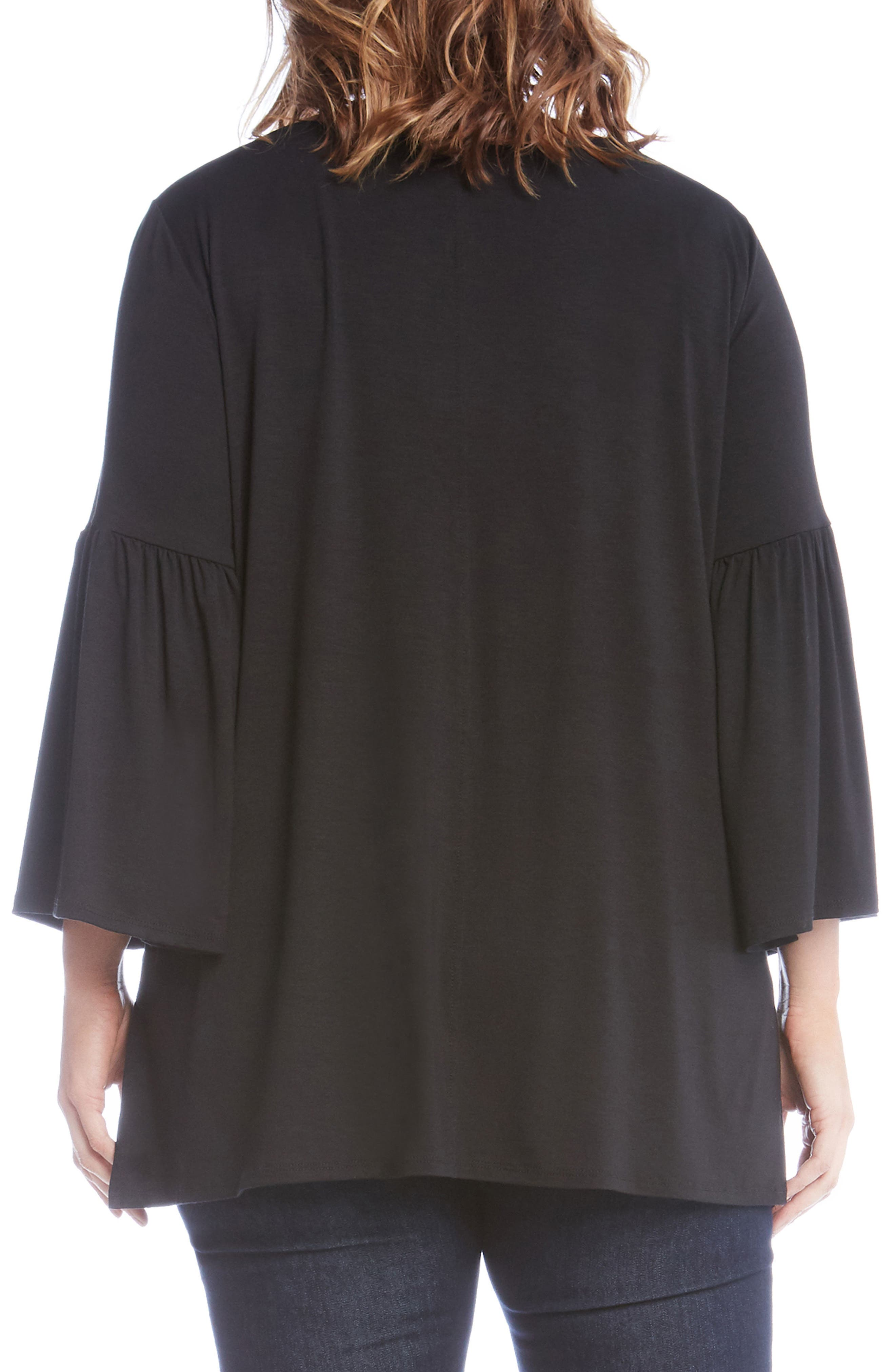 Bell Sleeve Side Slit Top,                             Alternate thumbnail 2, color,