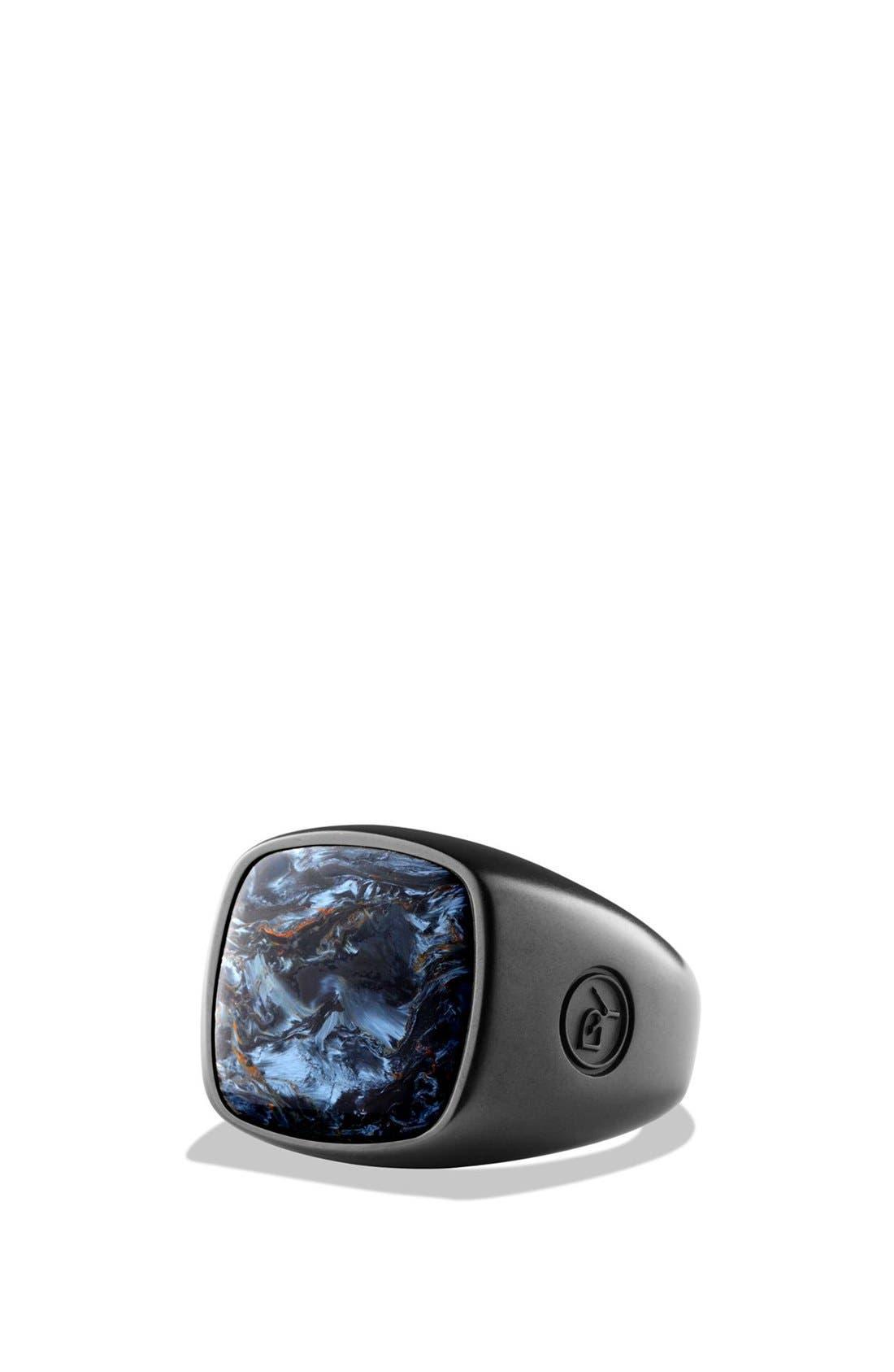 'Exotic Stone' Signet Ring, Main, color, PIETERSITE