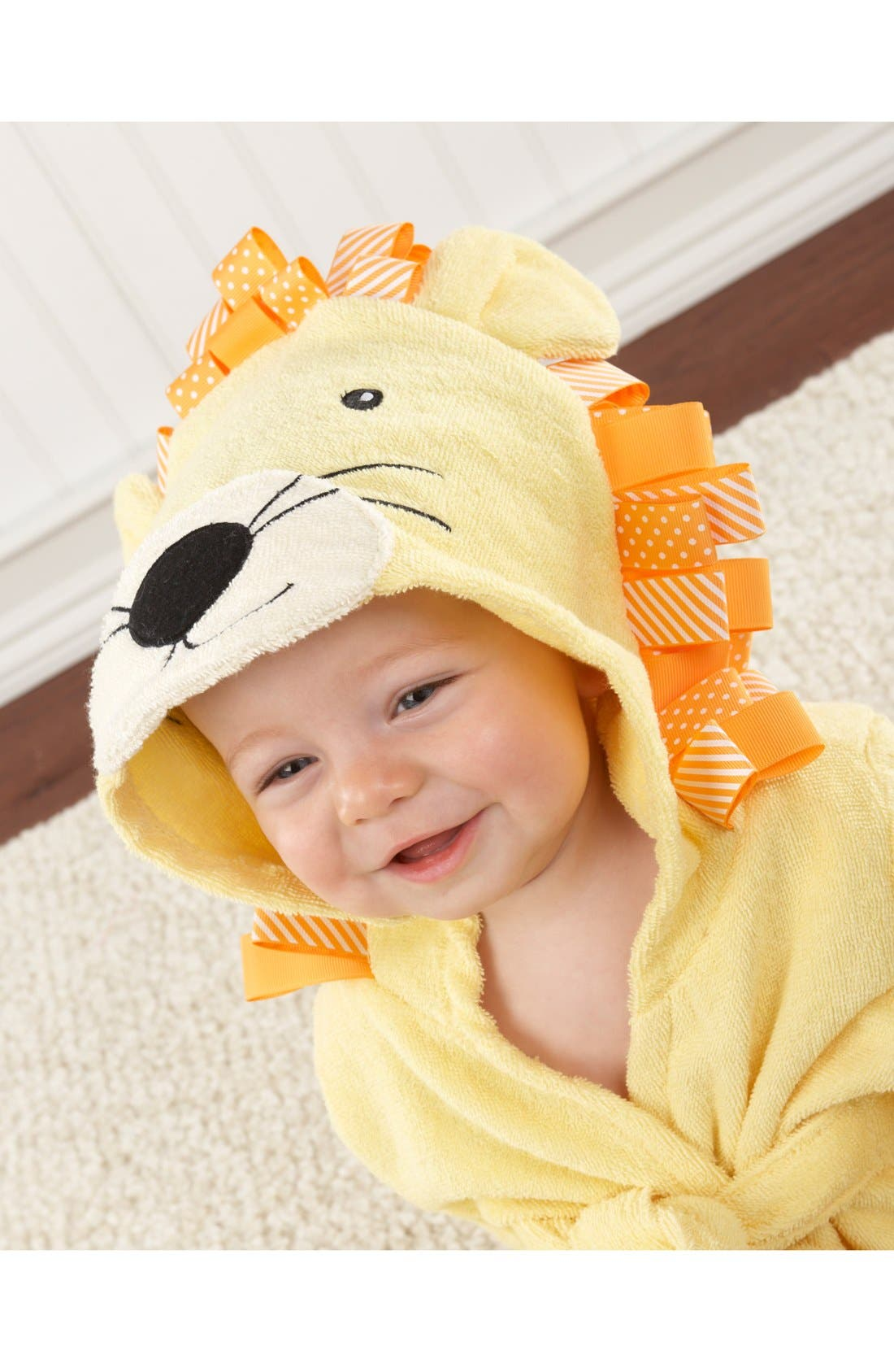 'Big Top Bathtime' Lion Hooded Terry Robe,                             Alternate thumbnail 2, color,                             YELLOW