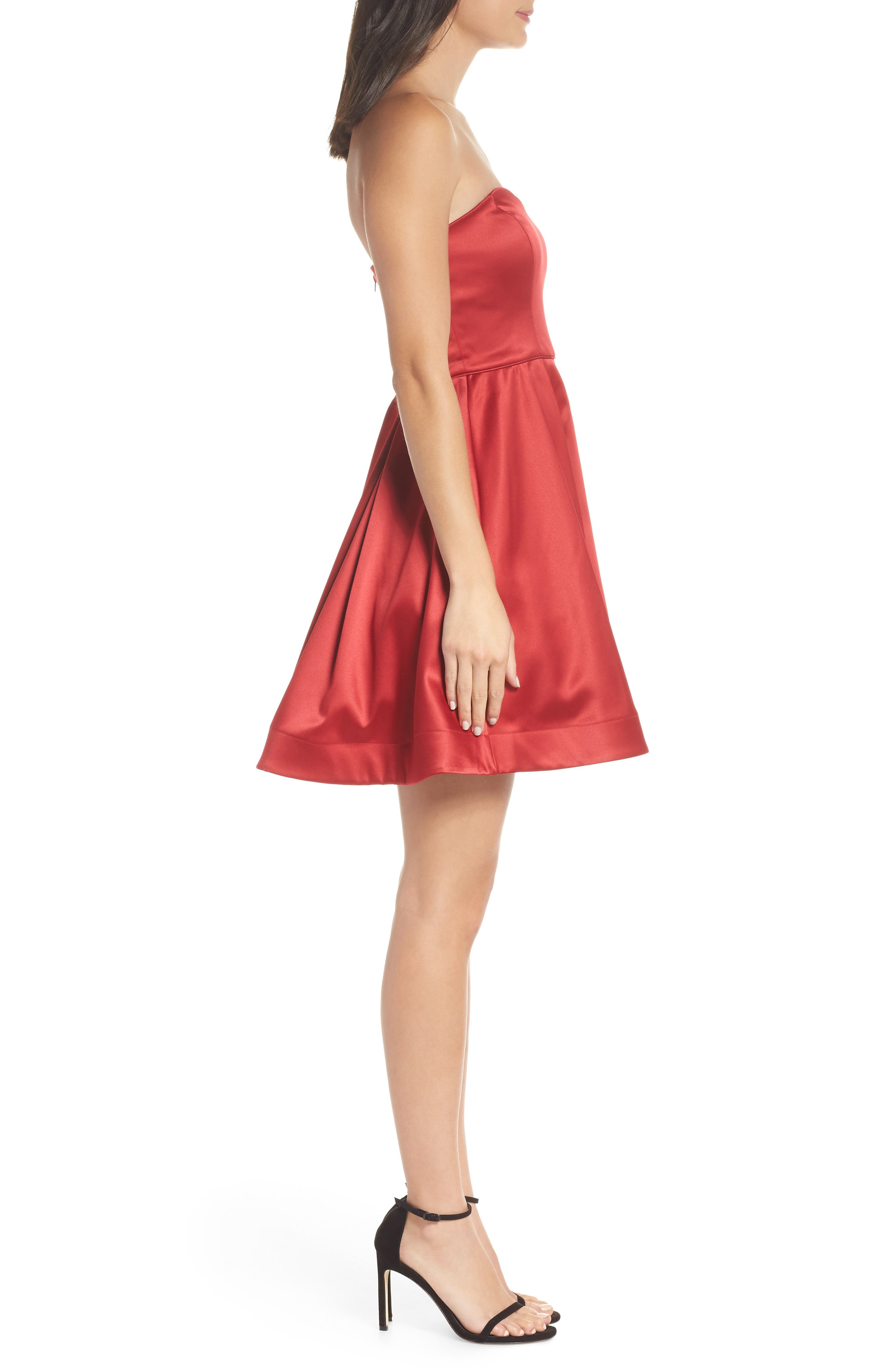 Satin Removable Strap Party Dress,                             Alternate thumbnail 4, color,                             RED
