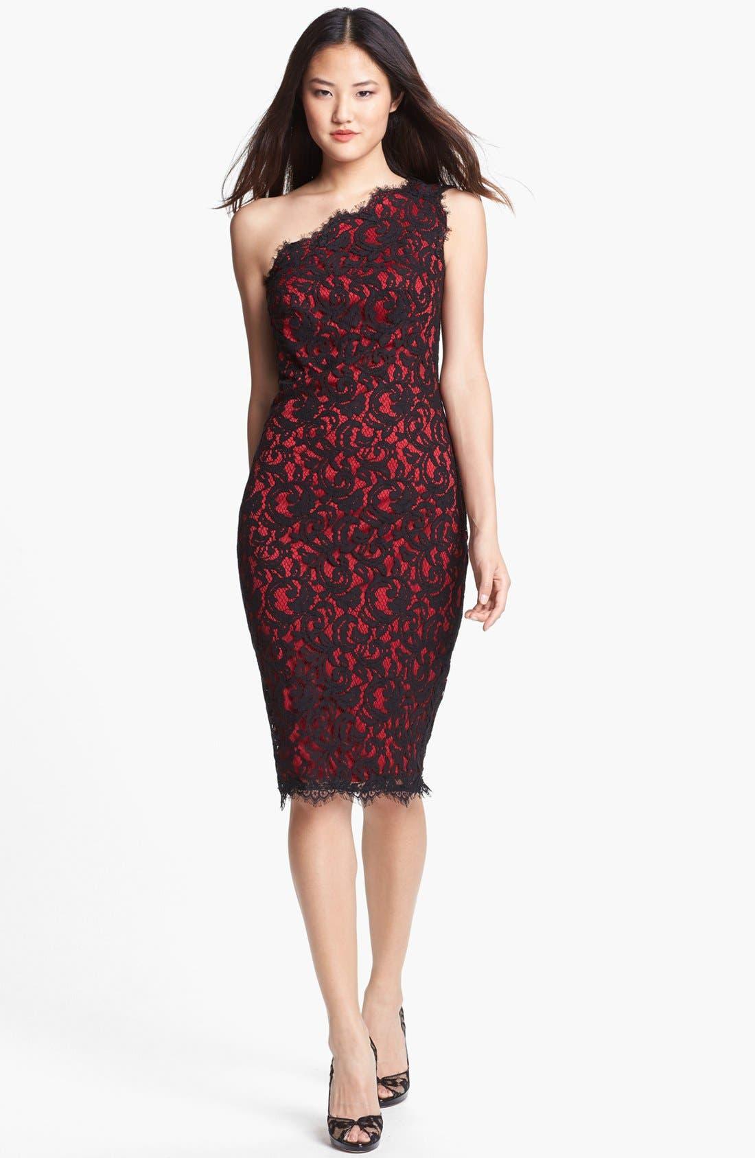 One-Shoulder Lace Sheath Dress,                             Alternate thumbnail 2, color,                             001