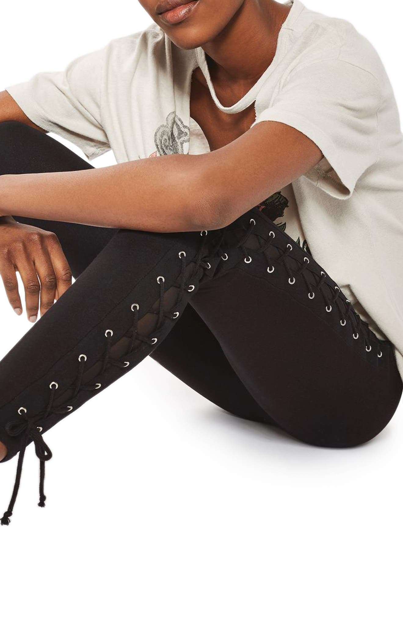 Lace-Up Leggings,                             Alternate thumbnail 3, color,                             001