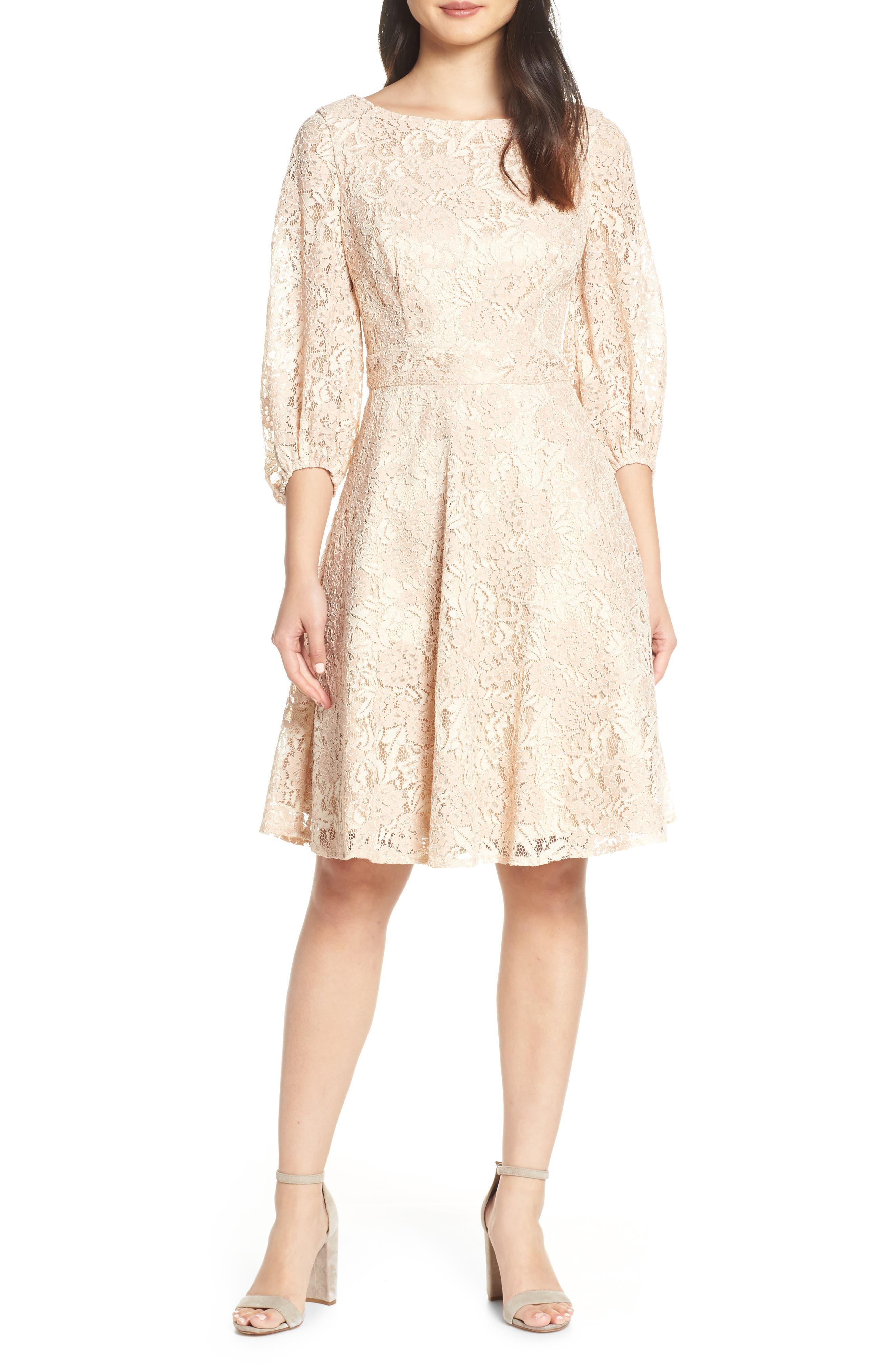 Eliza J Boatneck Lace Fit & Flare Dress, Pink