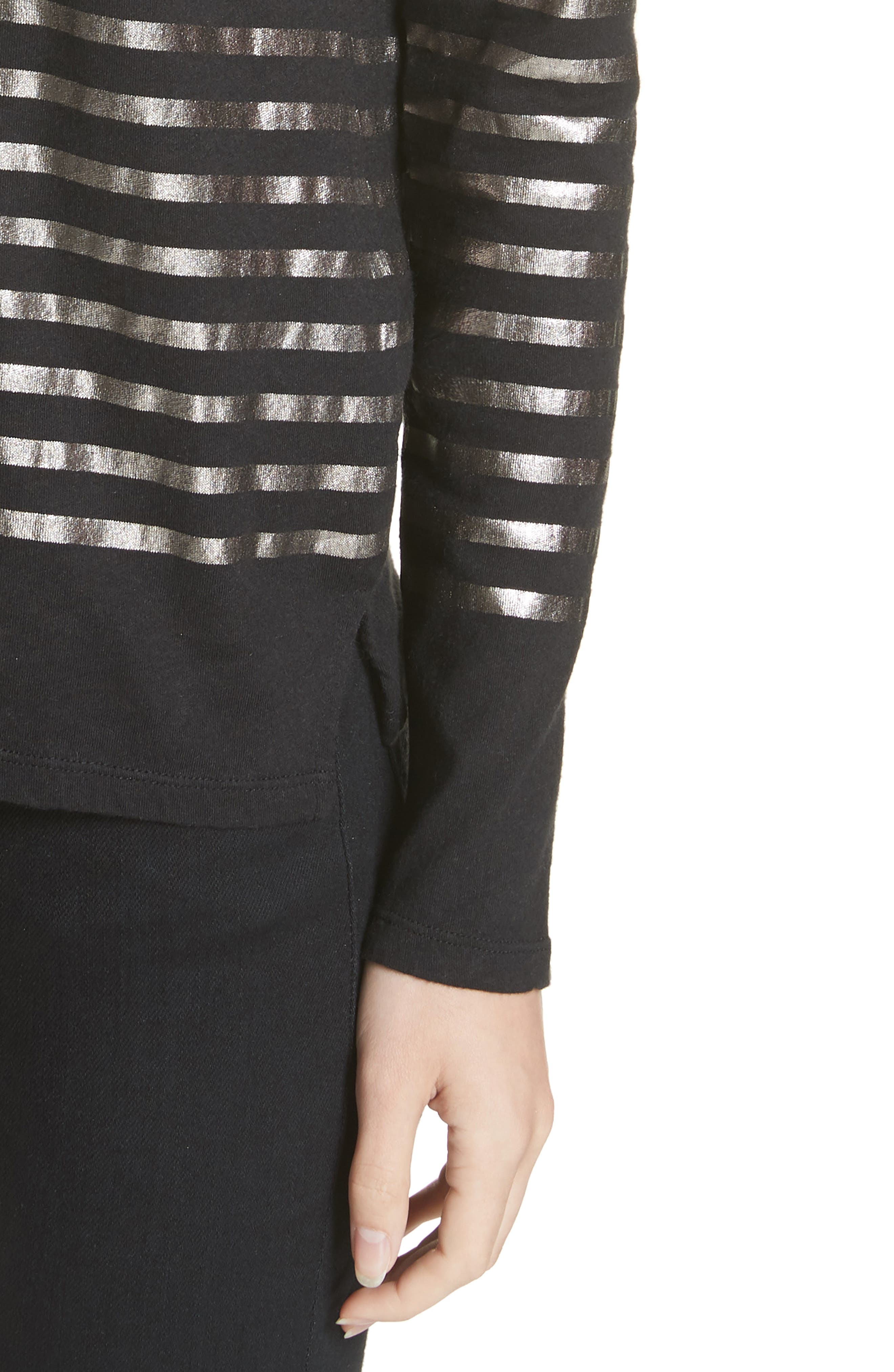 Boxy Stripe Top,                             Alternate thumbnail 4, color,                             NOIR/ GUN METAL