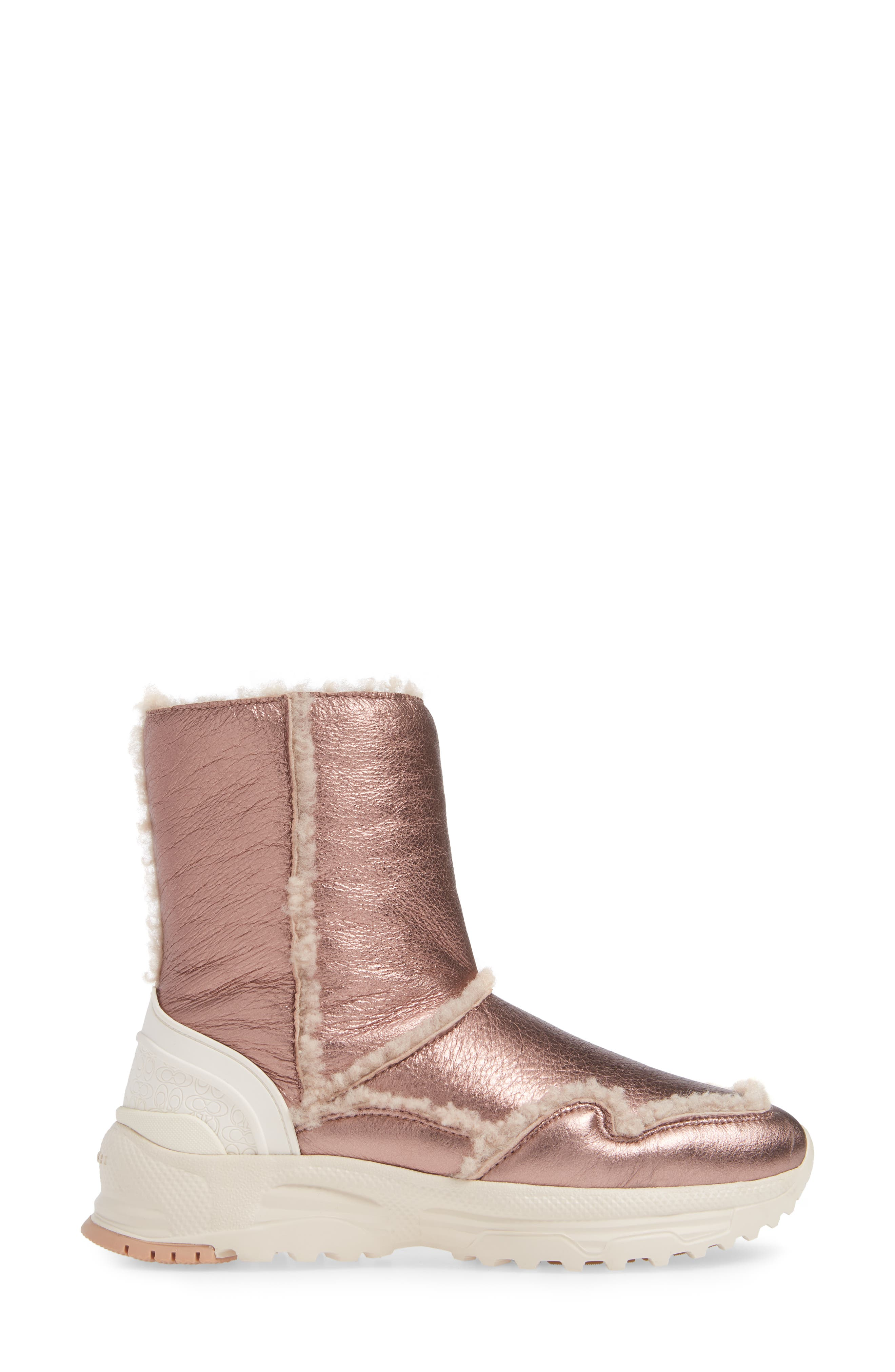 COACH,                             Portia Genuine Shearling Bootie,                             Alternate thumbnail 3, color,                             PINK