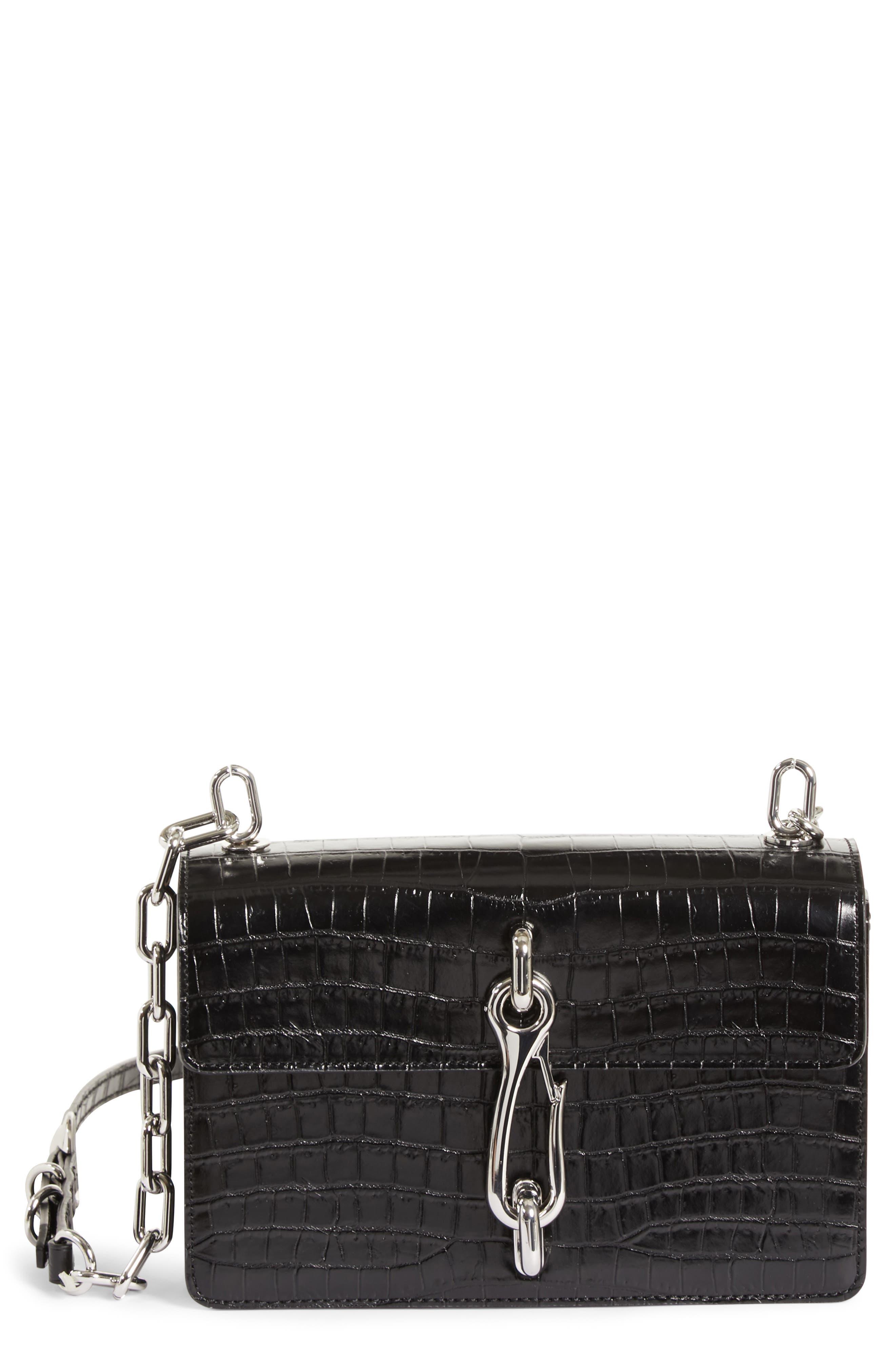 Hook Medium Leather Shoulder/Crossbody Bag, Main, color, 001