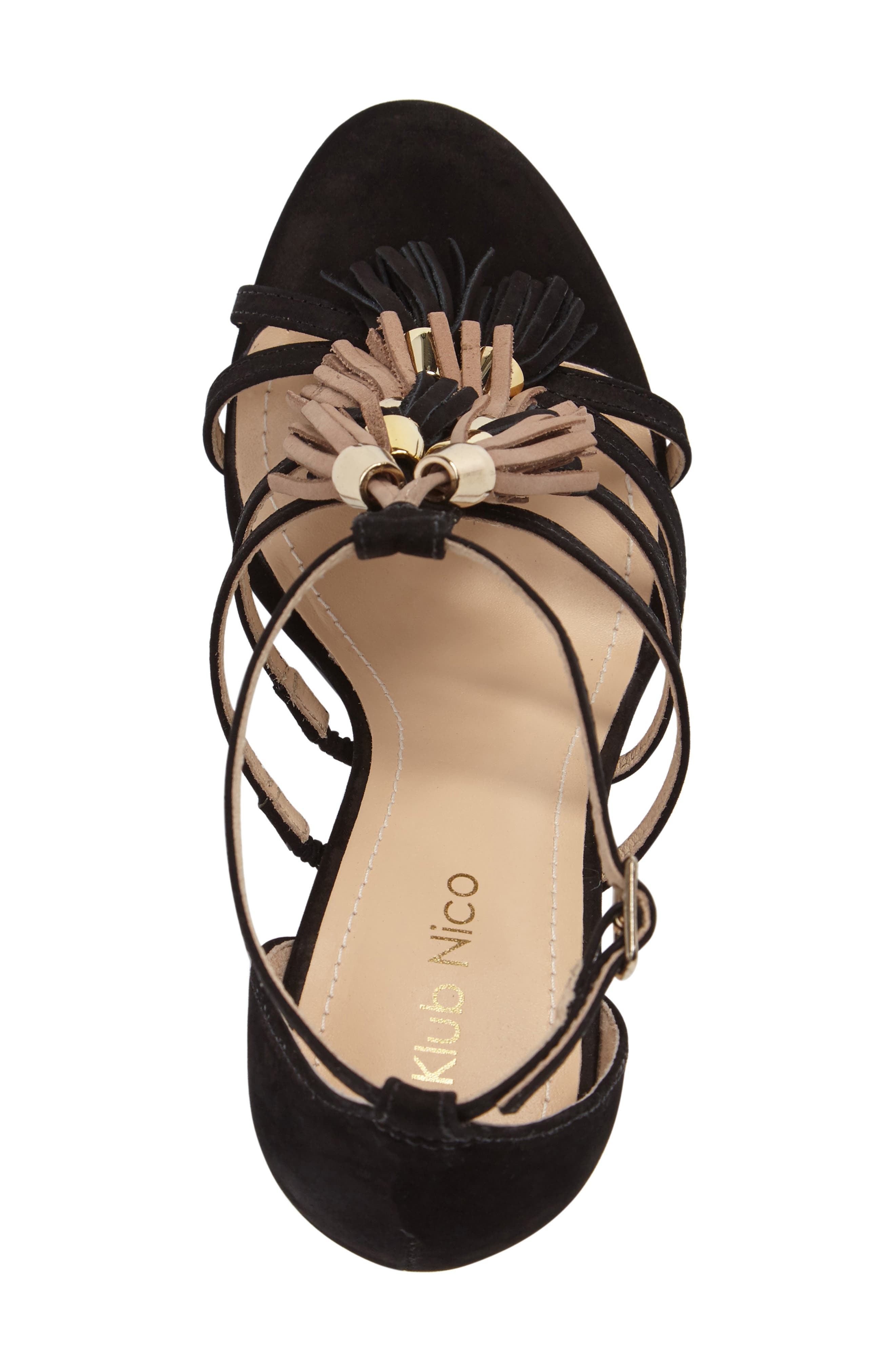 Myra Tassel Sandal,                             Alternate thumbnail 5, color,                             001
