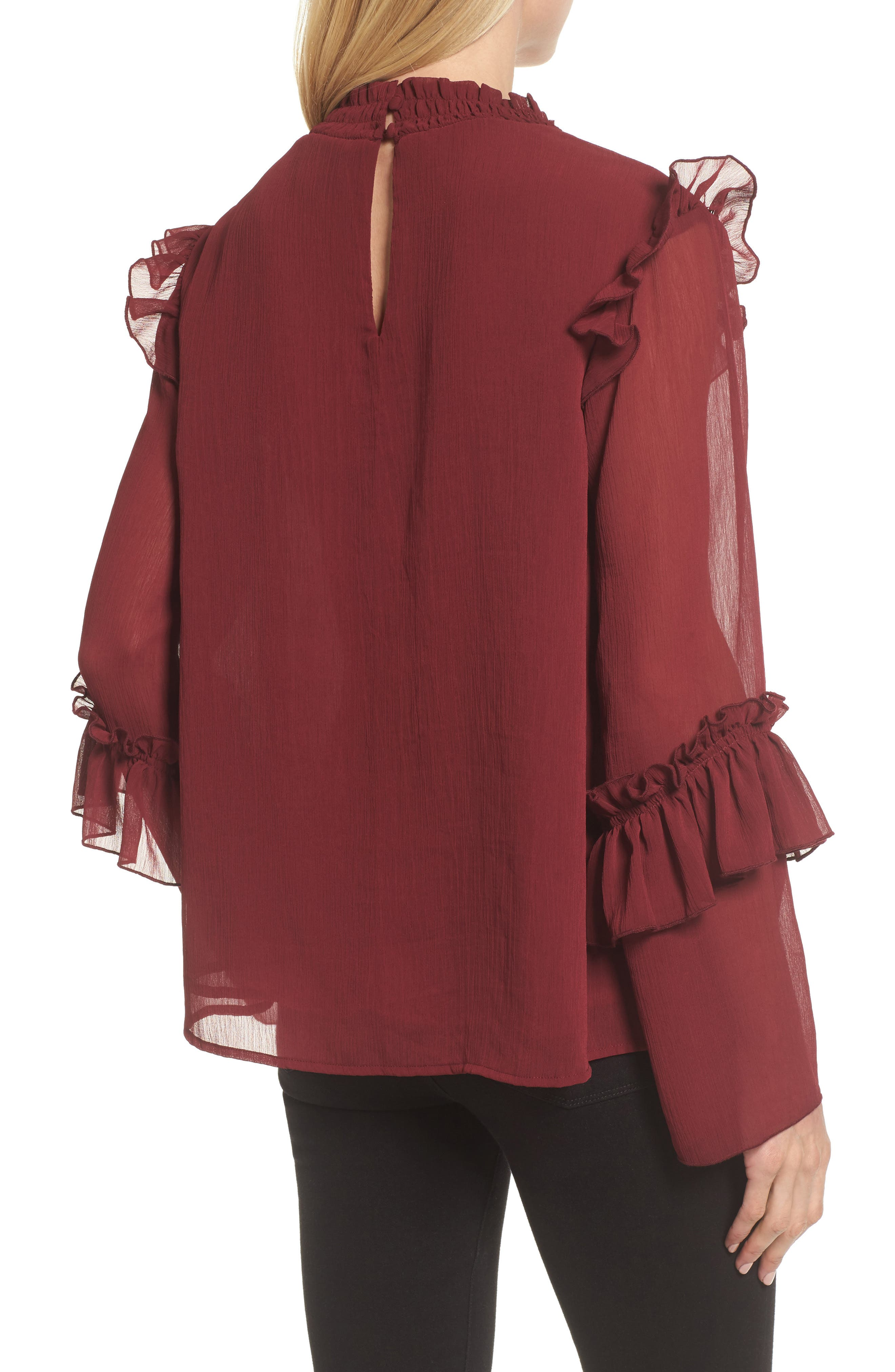 Ruffle Sleeve Blouse,                             Alternate thumbnail 4, color,