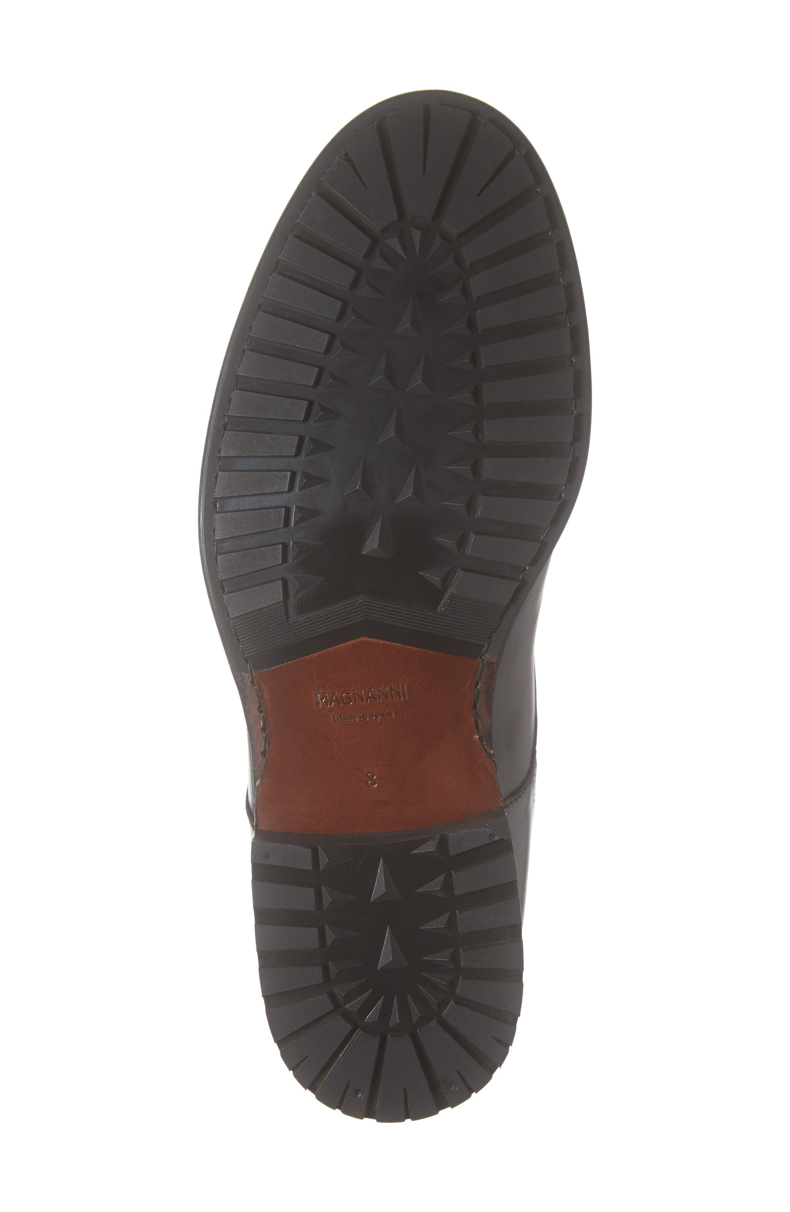 Peyton Cap Toe Boot,                             Alternate thumbnail 6, color,                             BLACK LEATHER