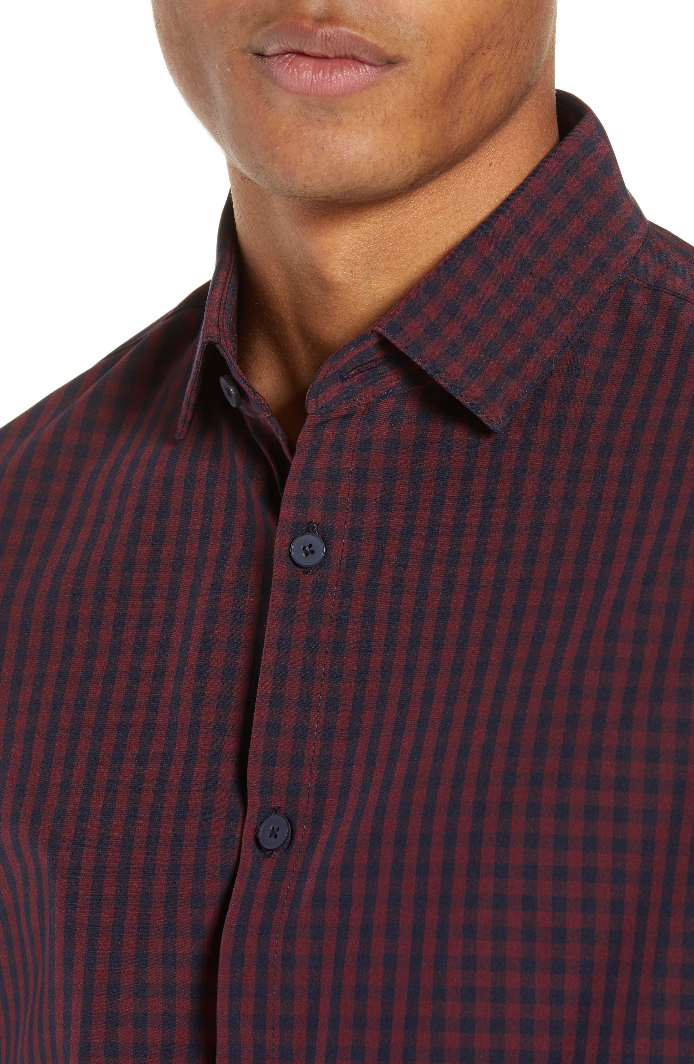 Marshall Check Sport Shirt,                             Alternate thumbnail 2, color,                             BURGUNDY