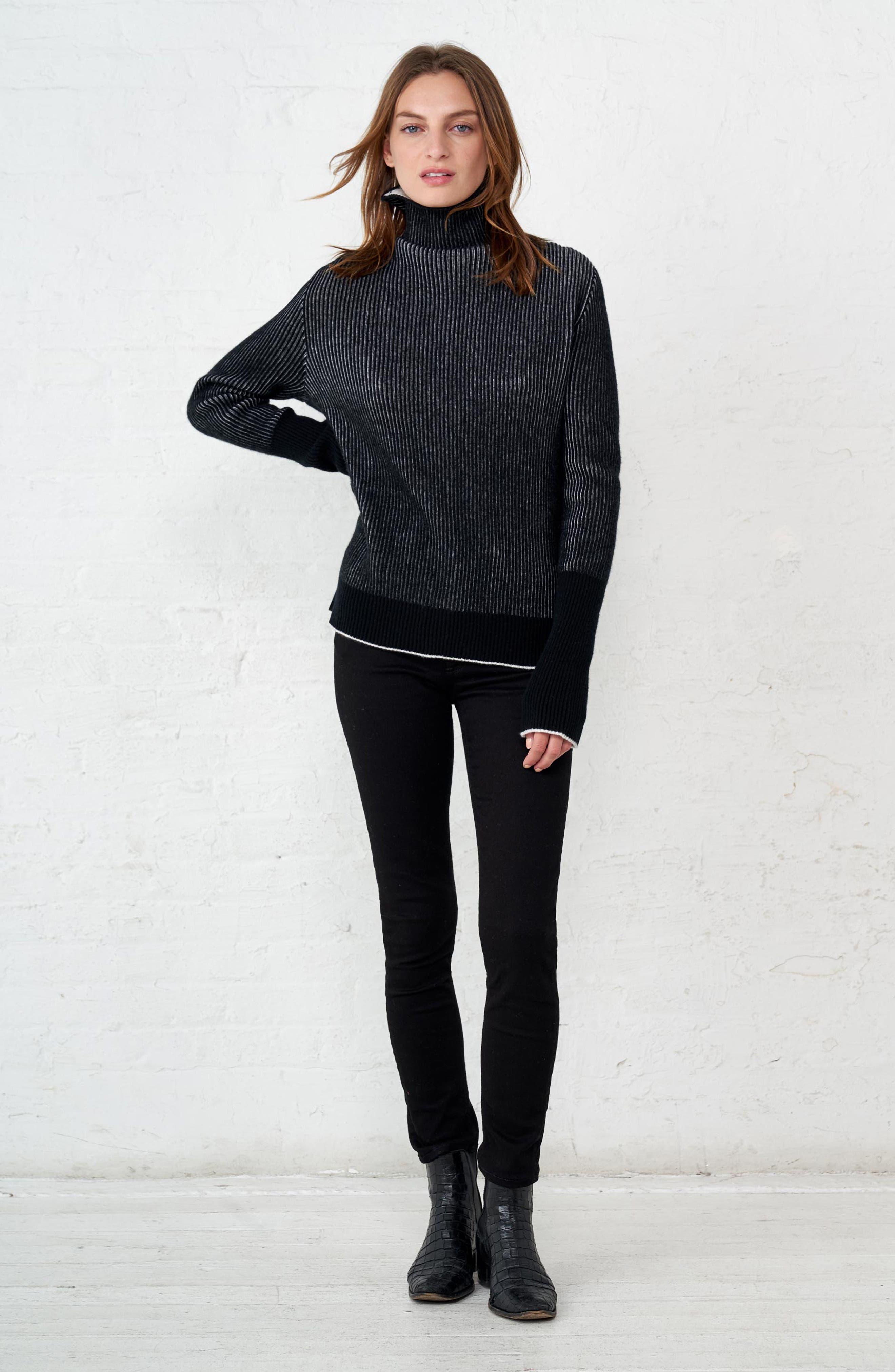 AAA Turtleneck Cashmere Sweater,                             Alternate thumbnail 8, color,                             BLACK/ CREAM