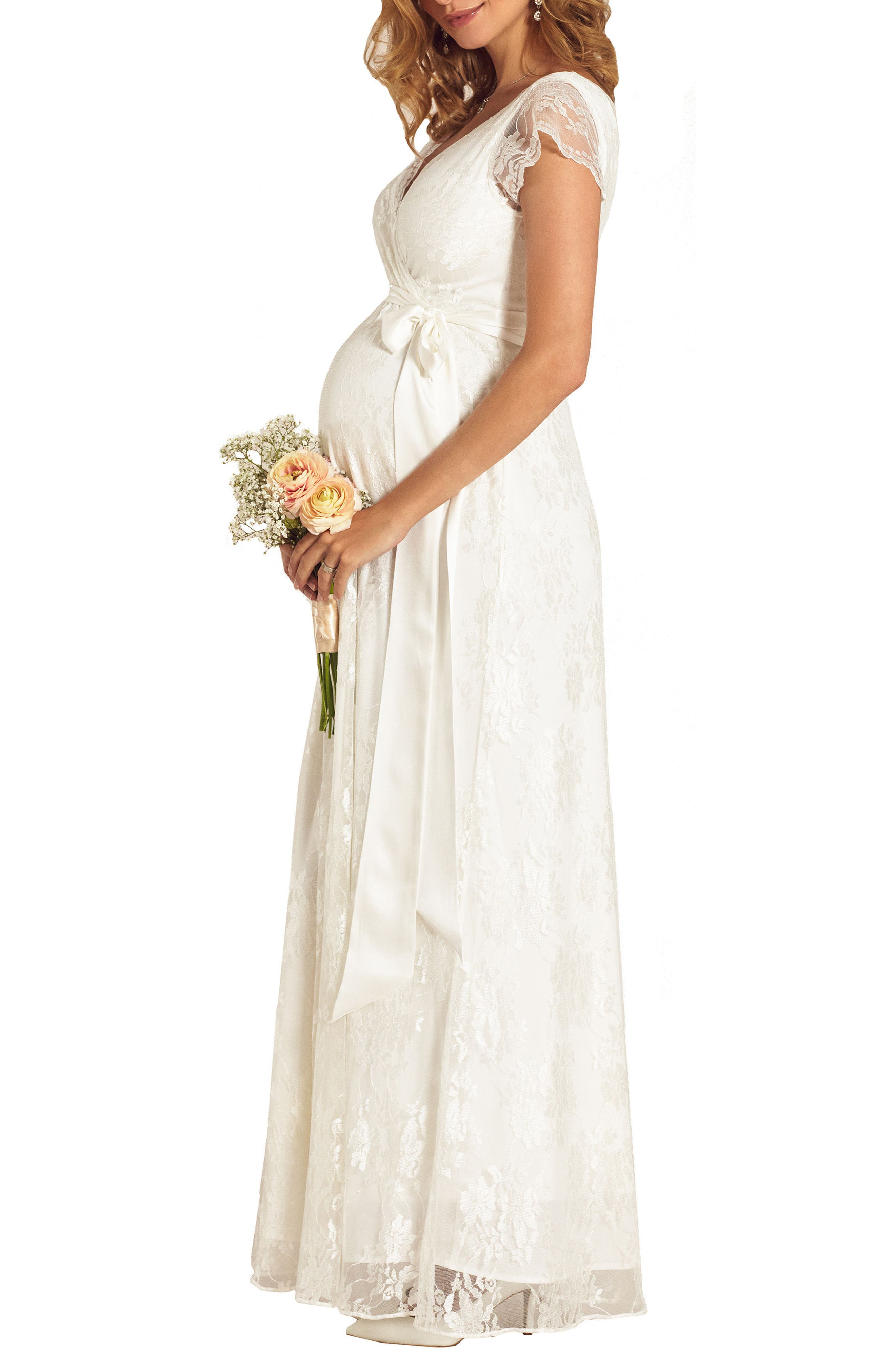 Eden Lace Maternity Gown,                             Alternate thumbnail 2, color,                             IVORY DREAM