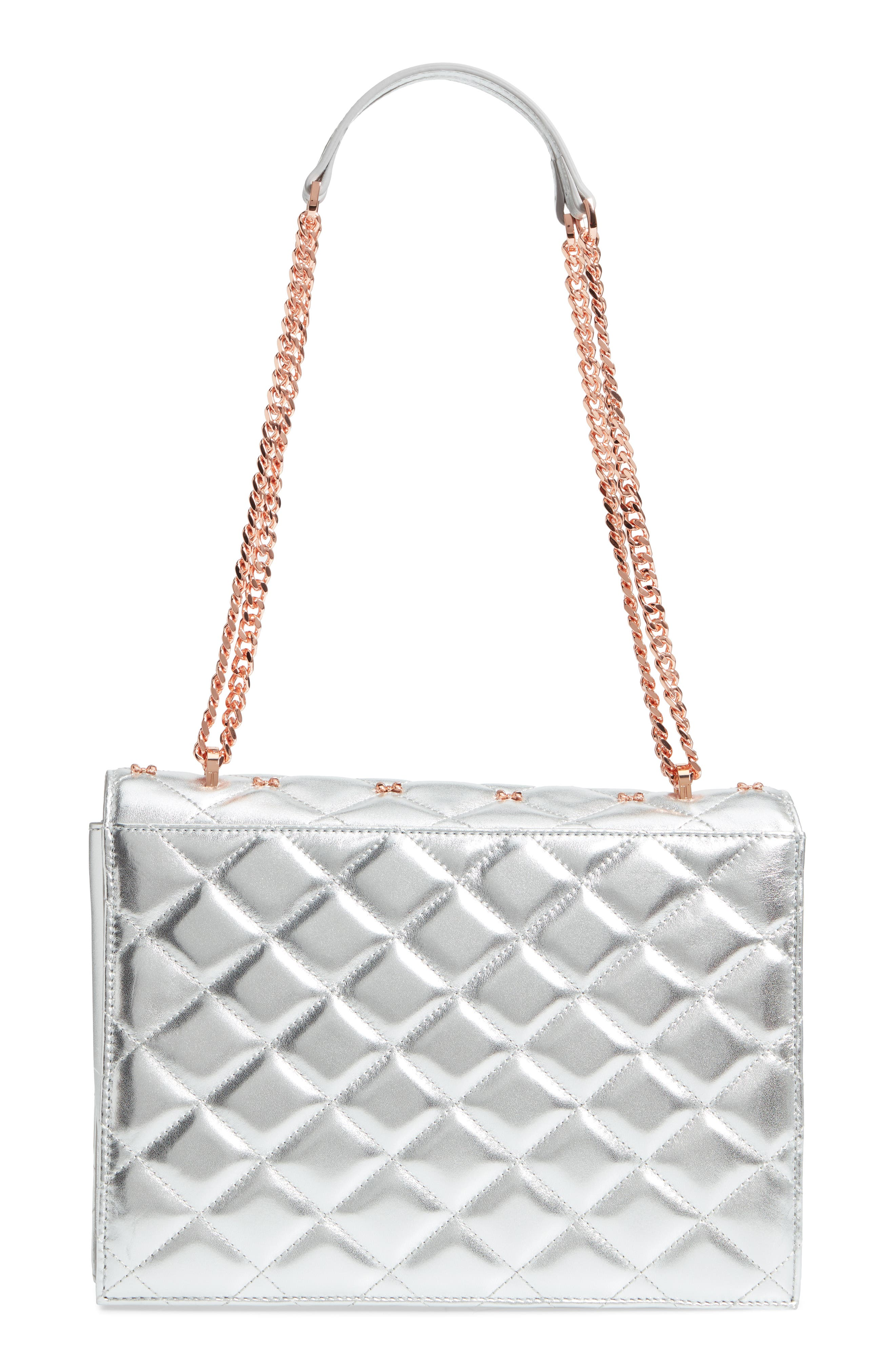 Bow Quilted Leather Shoulder Bag,                             Alternate thumbnail 3, color,                             SILVER