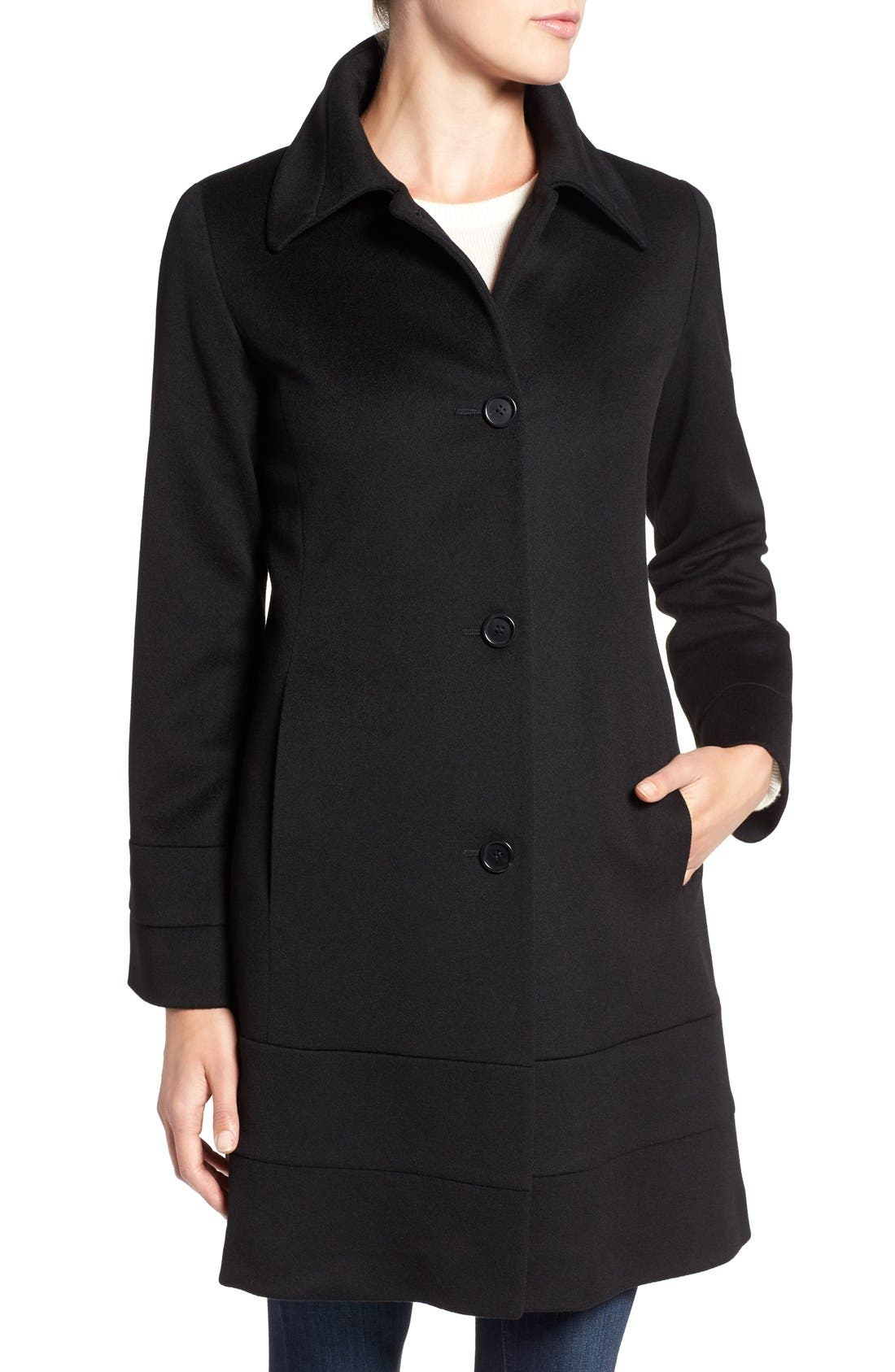 Fit & Flare Wool Coat,                             Alternate thumbnail 4, color,                             001