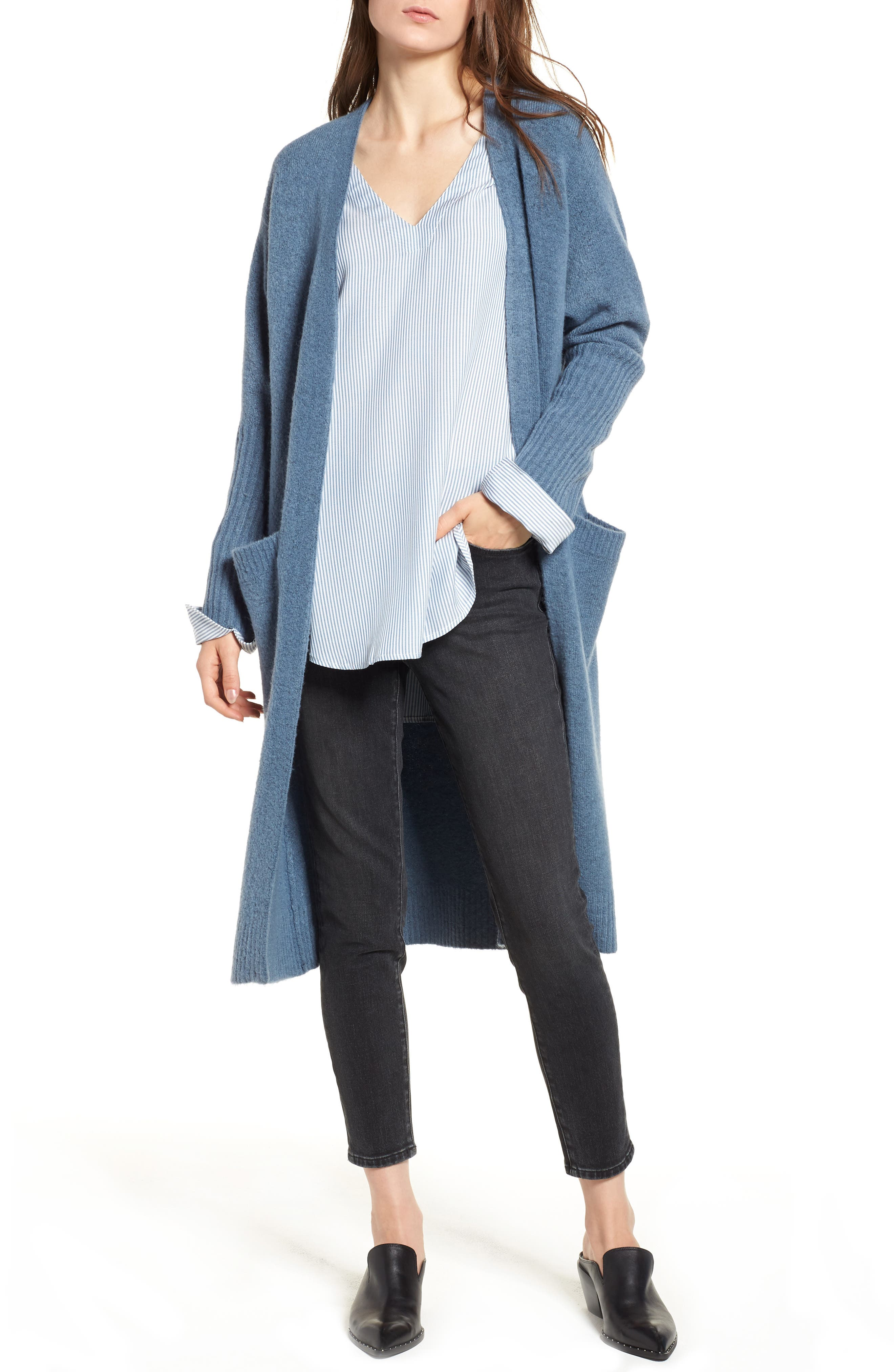 Long Knit Duster,                             Main thumbnail 1, color,                             BLUE CAPTAIN HEATHER