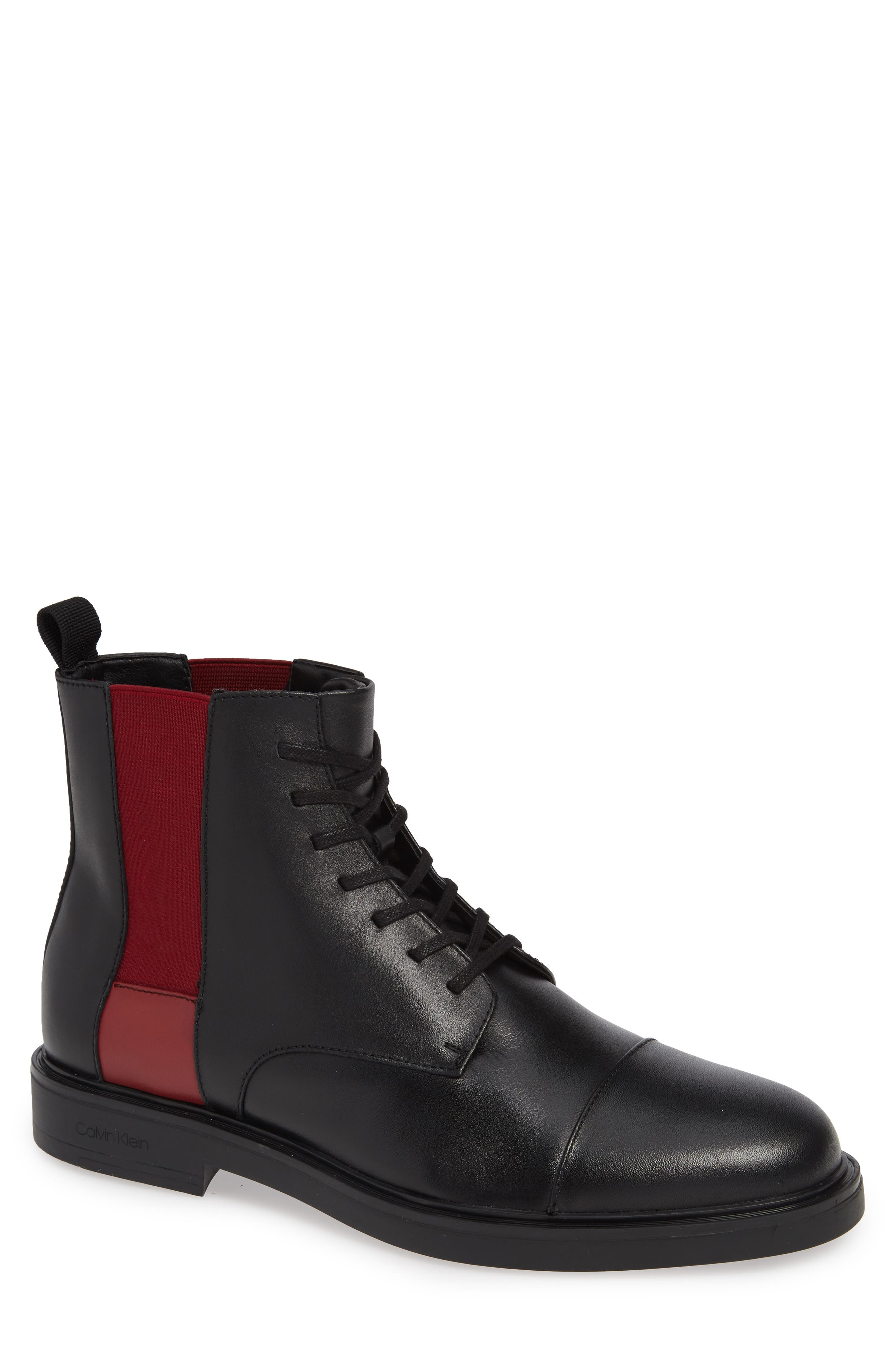 Dameon Lace-Up Boot,                         Main,                         color, BLACK/ RED ROCK LEATHER