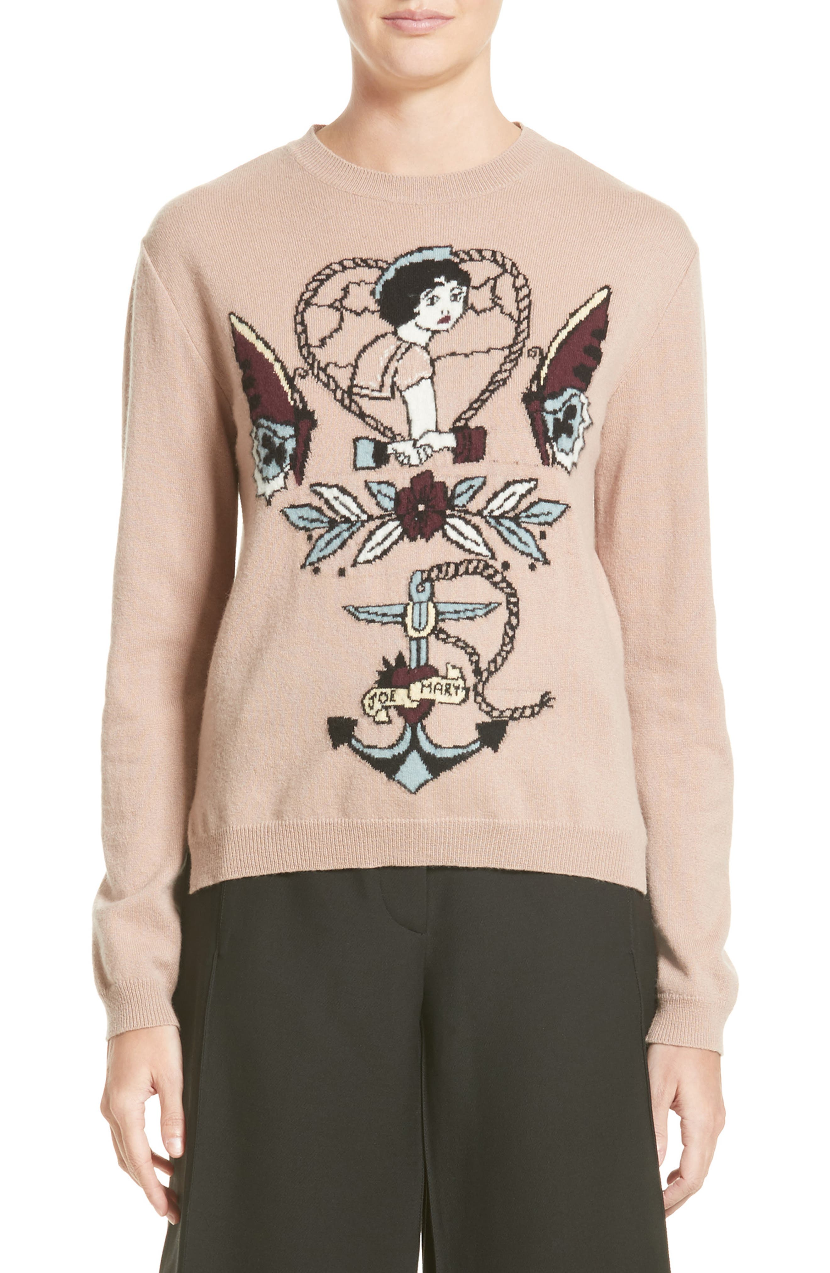 Tattoo Intarsia Wool & Cashmere Sweater,                         Main,                         color, 250