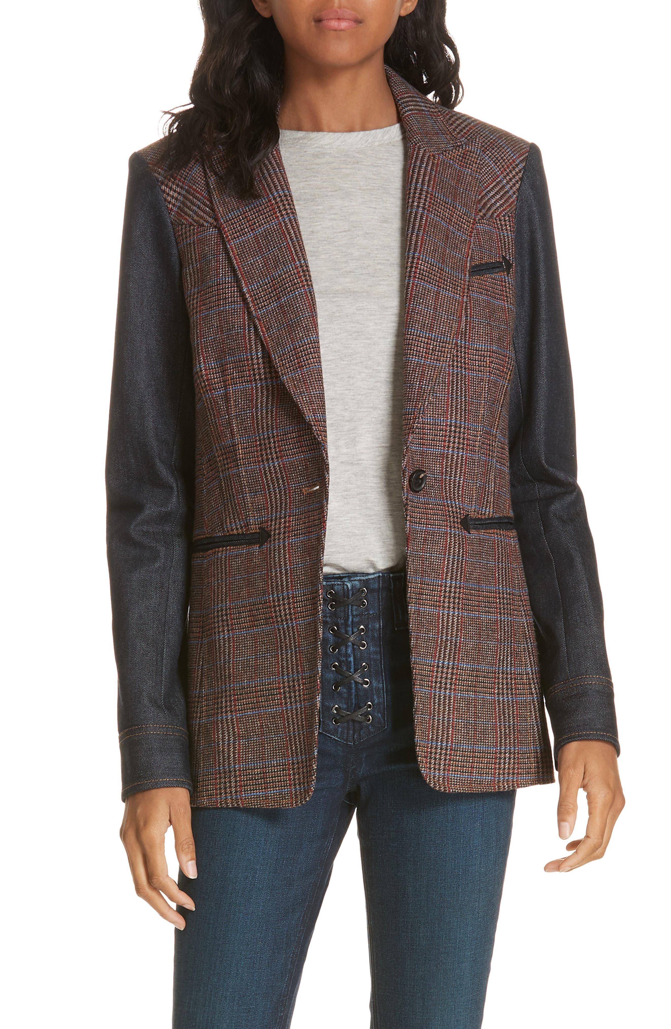 Mela Denim Sleeve Dickey Jacket,                         Main,                         color, BROWN/ ORANGE