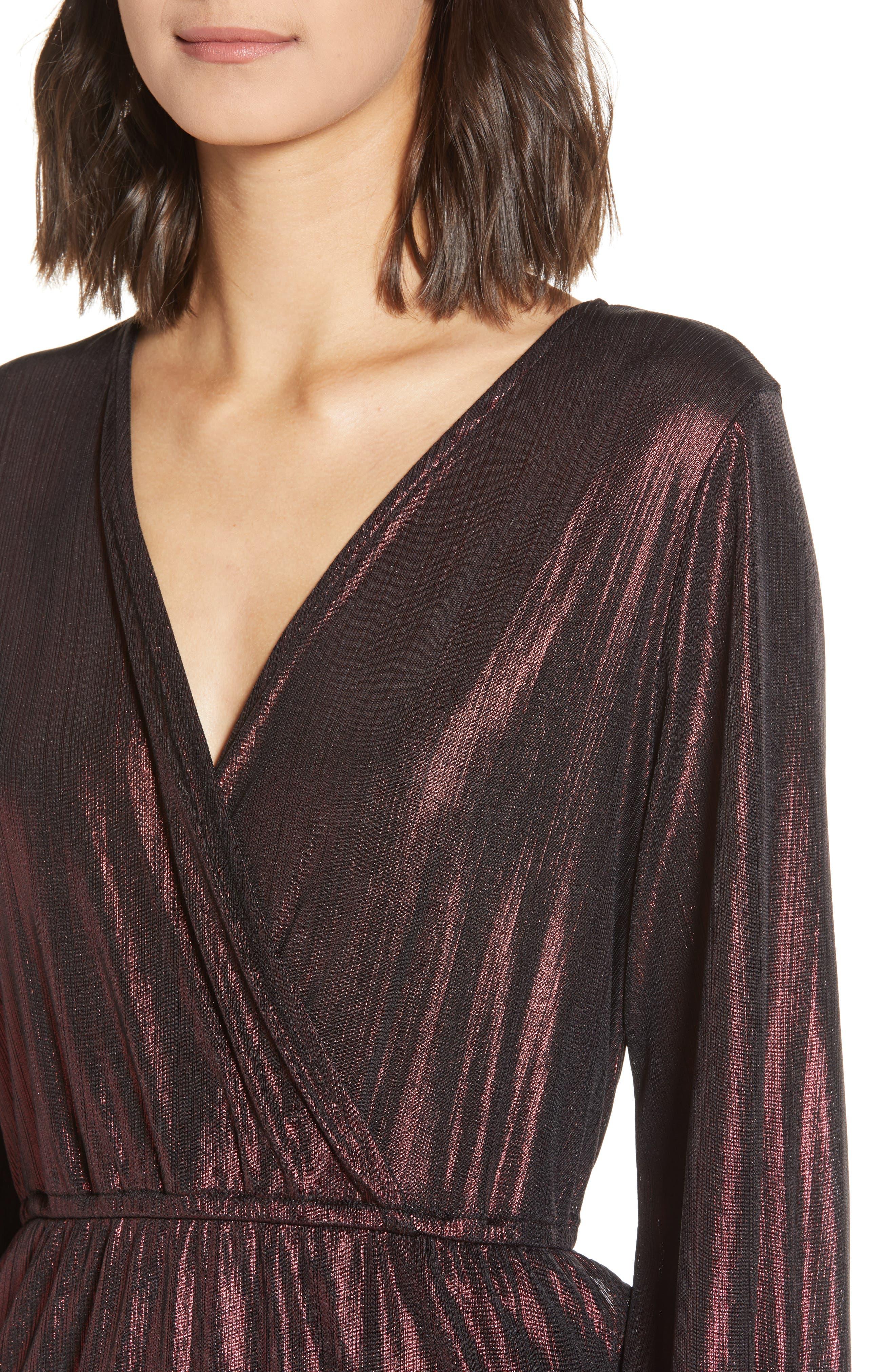 Long Sleeve Deep V-Neck Midi Dress,                             Alternate thumbnail 4, color,                             ROSE GOLD