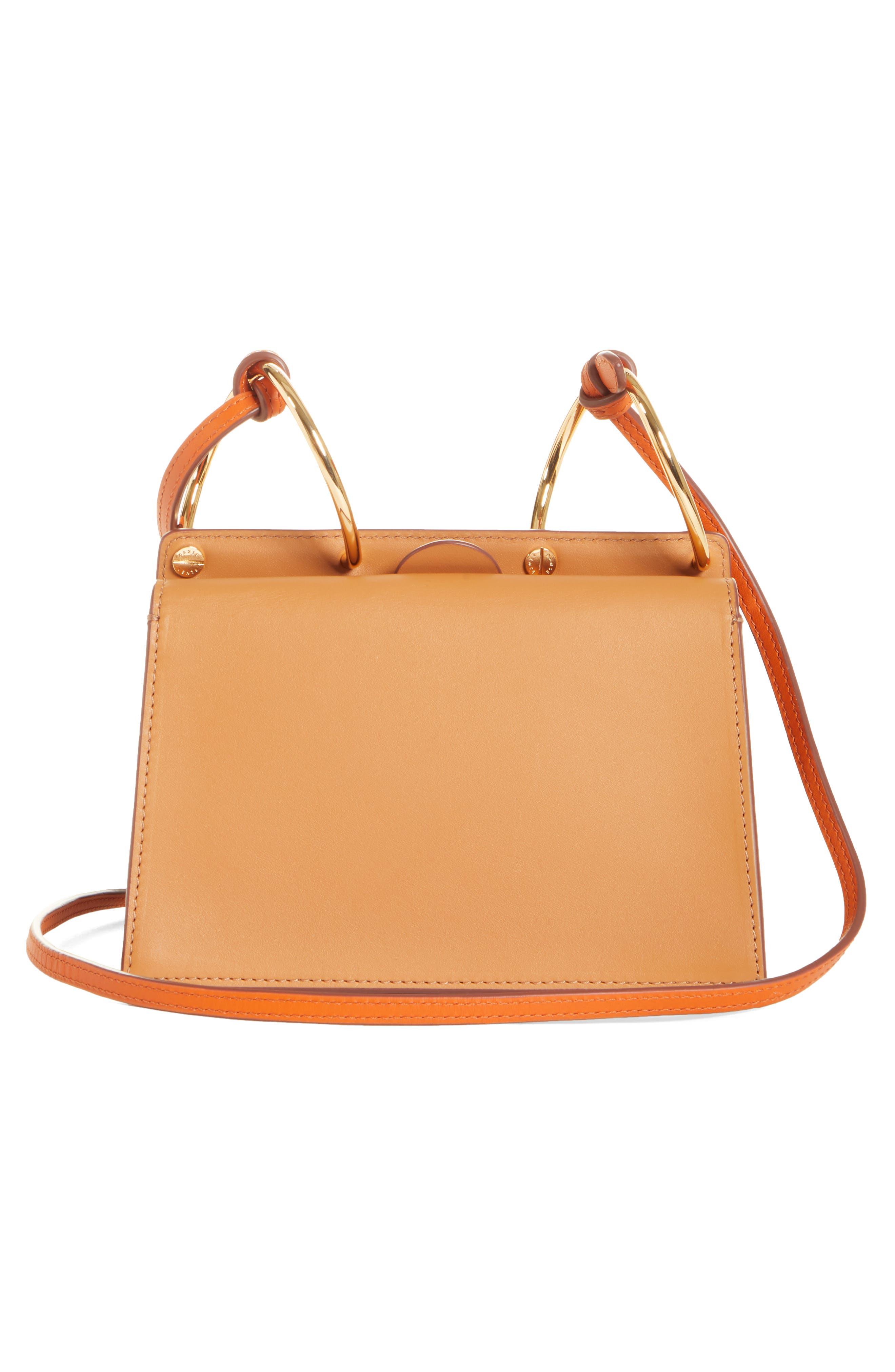 DANSE LENTE,                             Mini Phoebe Leather Bag,                             Alternate thumbnail 3, color,                             TOFFEE/ MARSHMALLOW