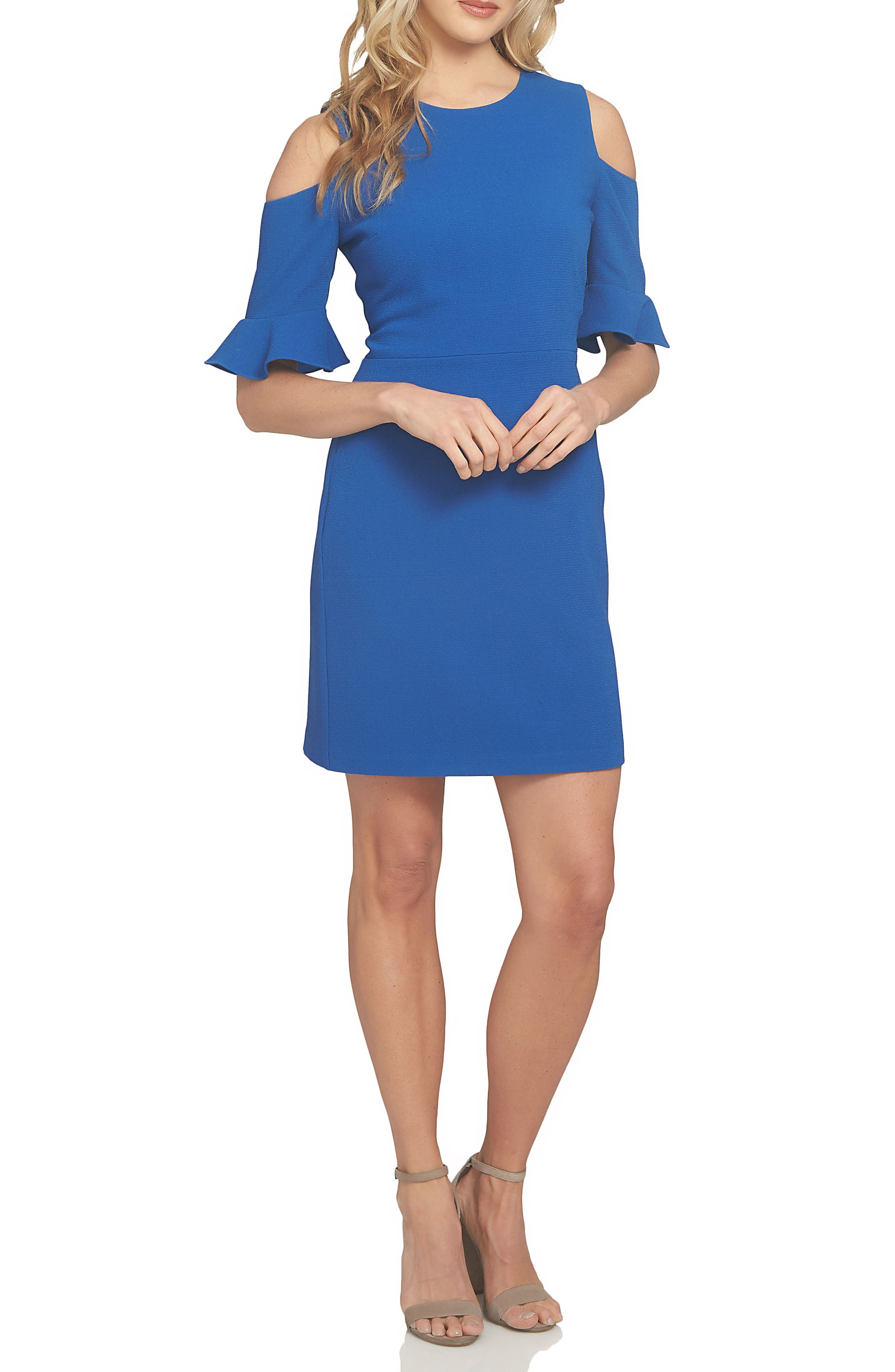 Emily Cold Shoulder Sheath Dress,                             Alternate thumbnail 5, color,