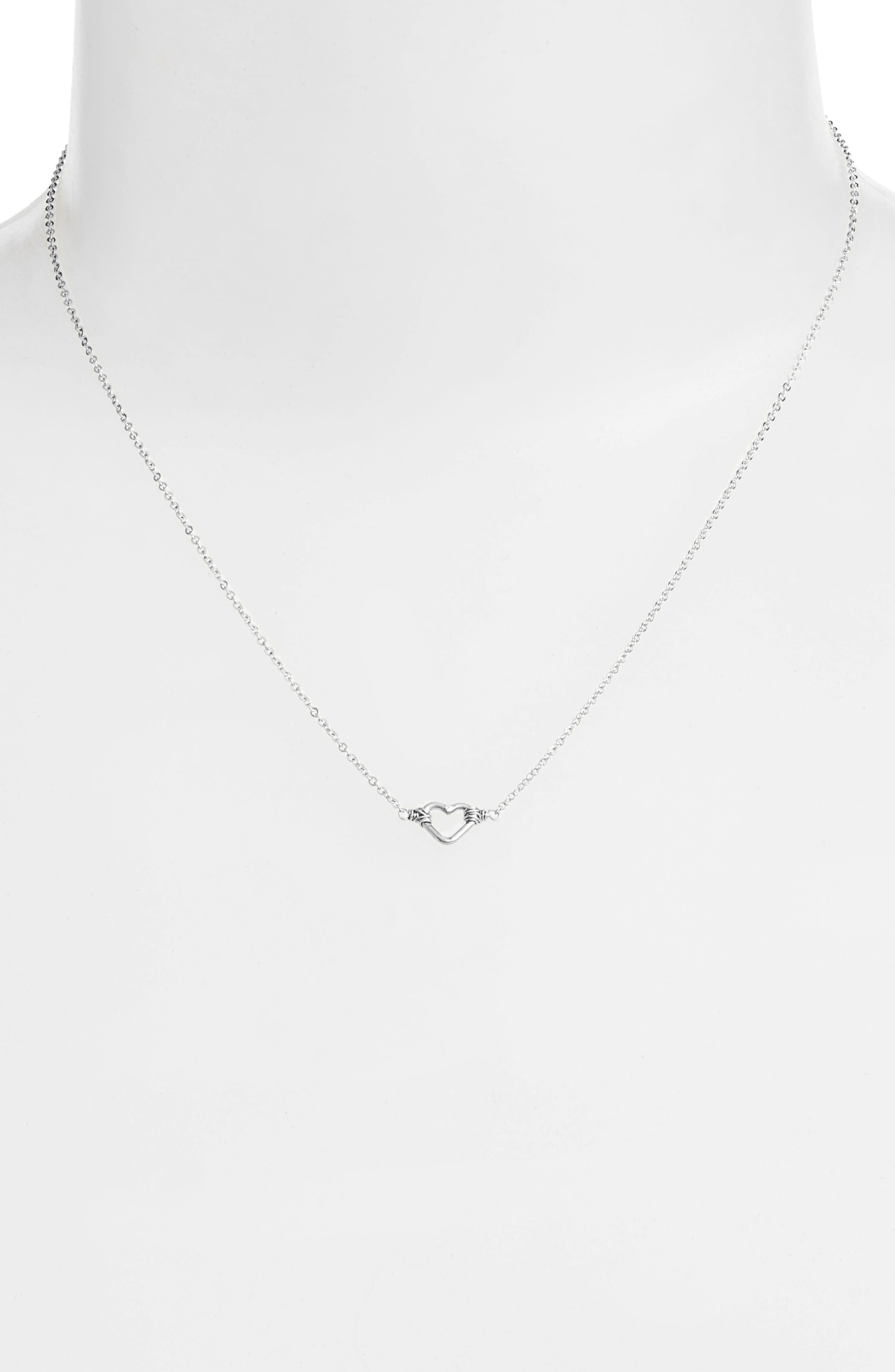 Mini Open Heart Pendant Necklace,                             Alternate thumbnail 2, color,                             040