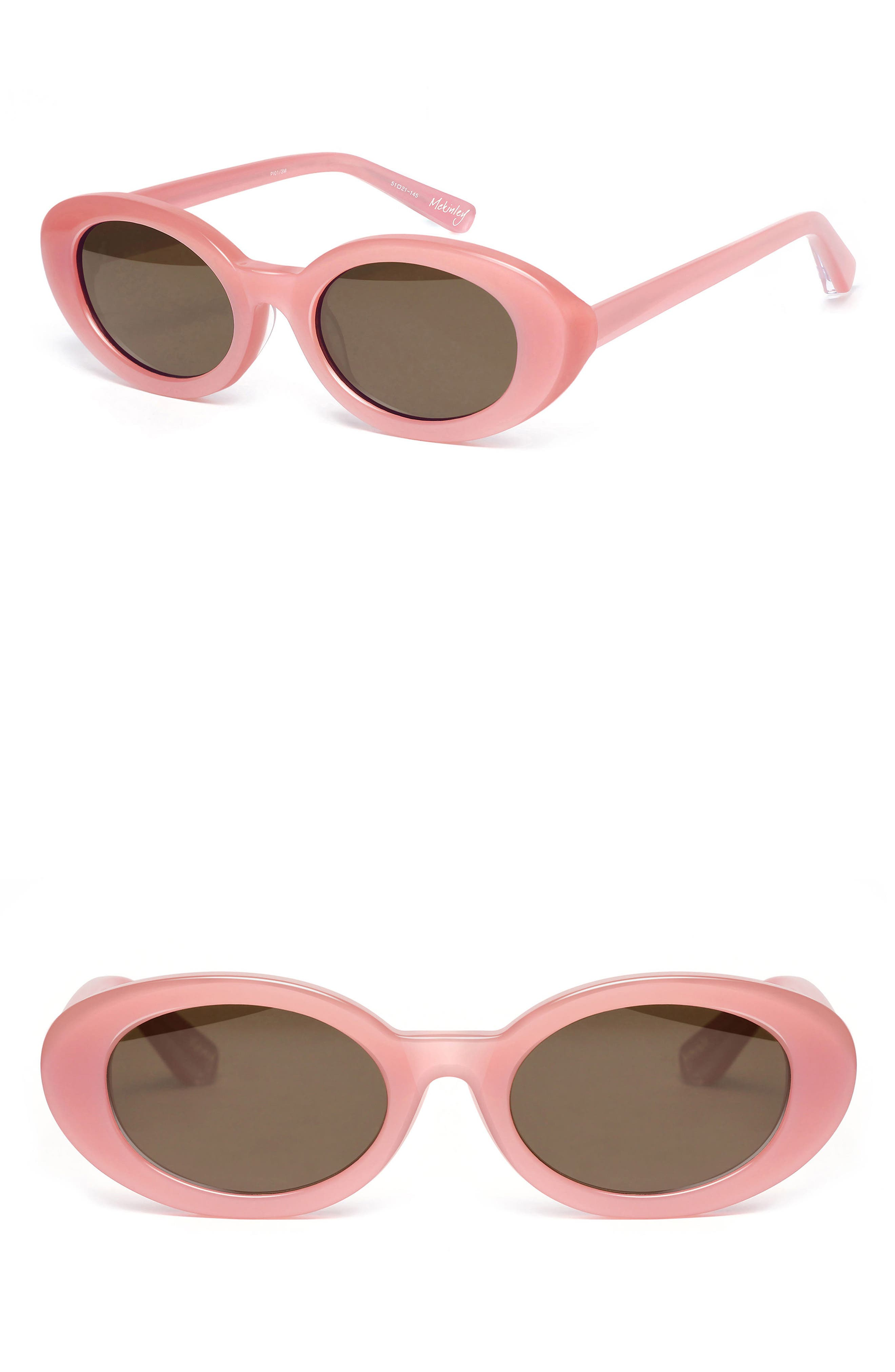 McKinely 51mm Oval Sunglasses,                         Main,                         color, BUBBLEGUM PINK/ BROWN