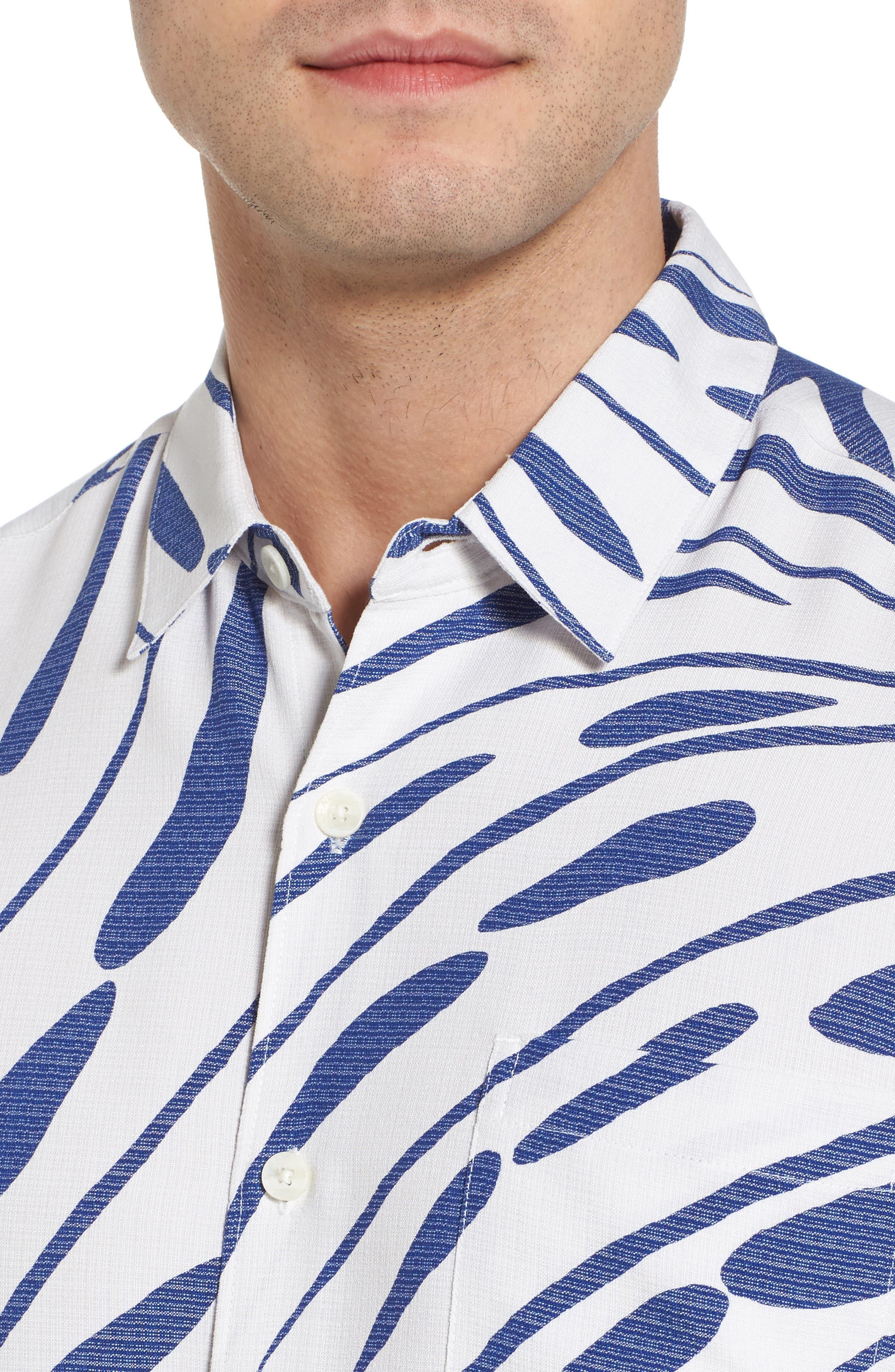 Syri's Leaf Classic Fit Print Sport Shirt,                             Alternate thumbnail 8, color,